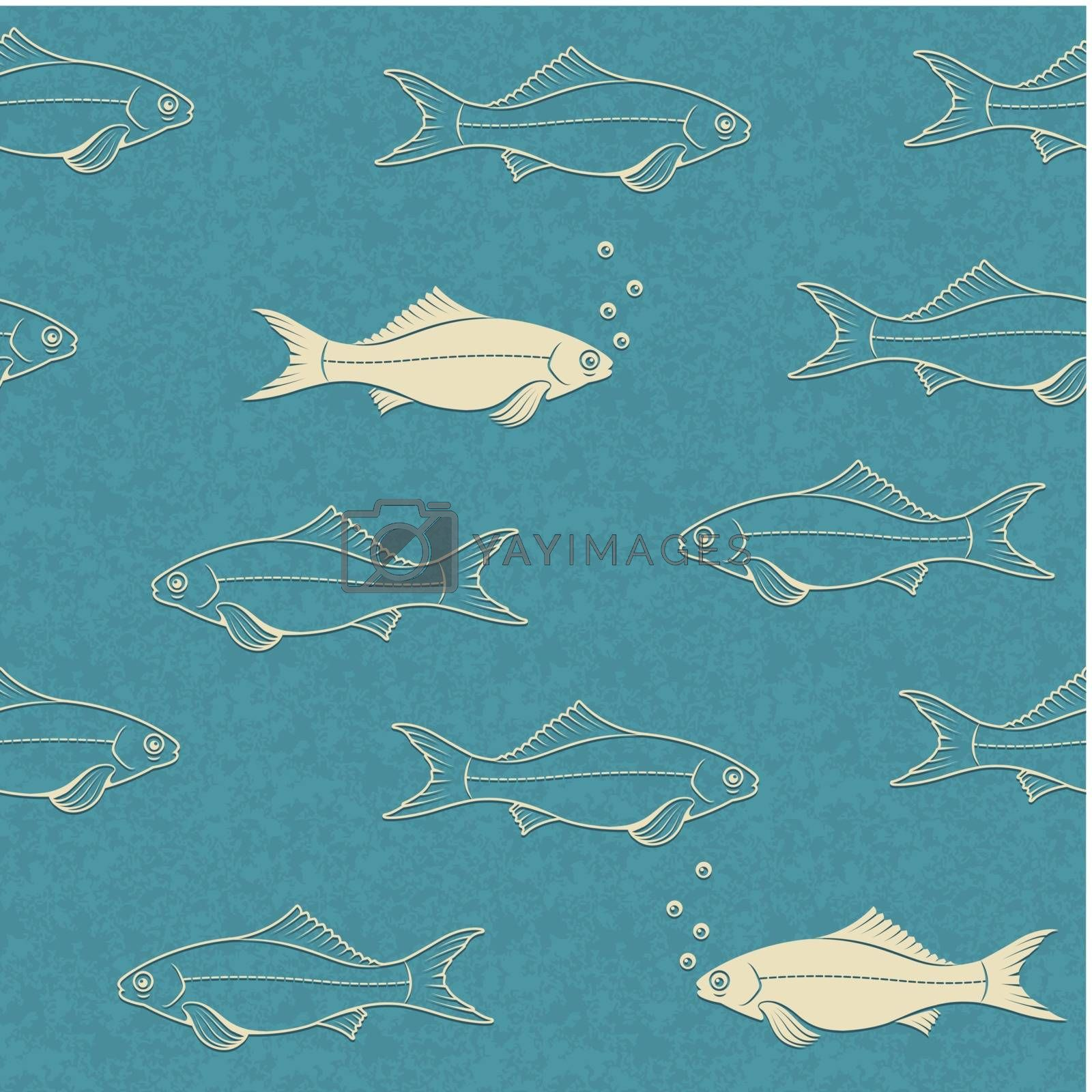 Royalty free image of Seamless pattern of swimming fish with bubbles by LoopAll