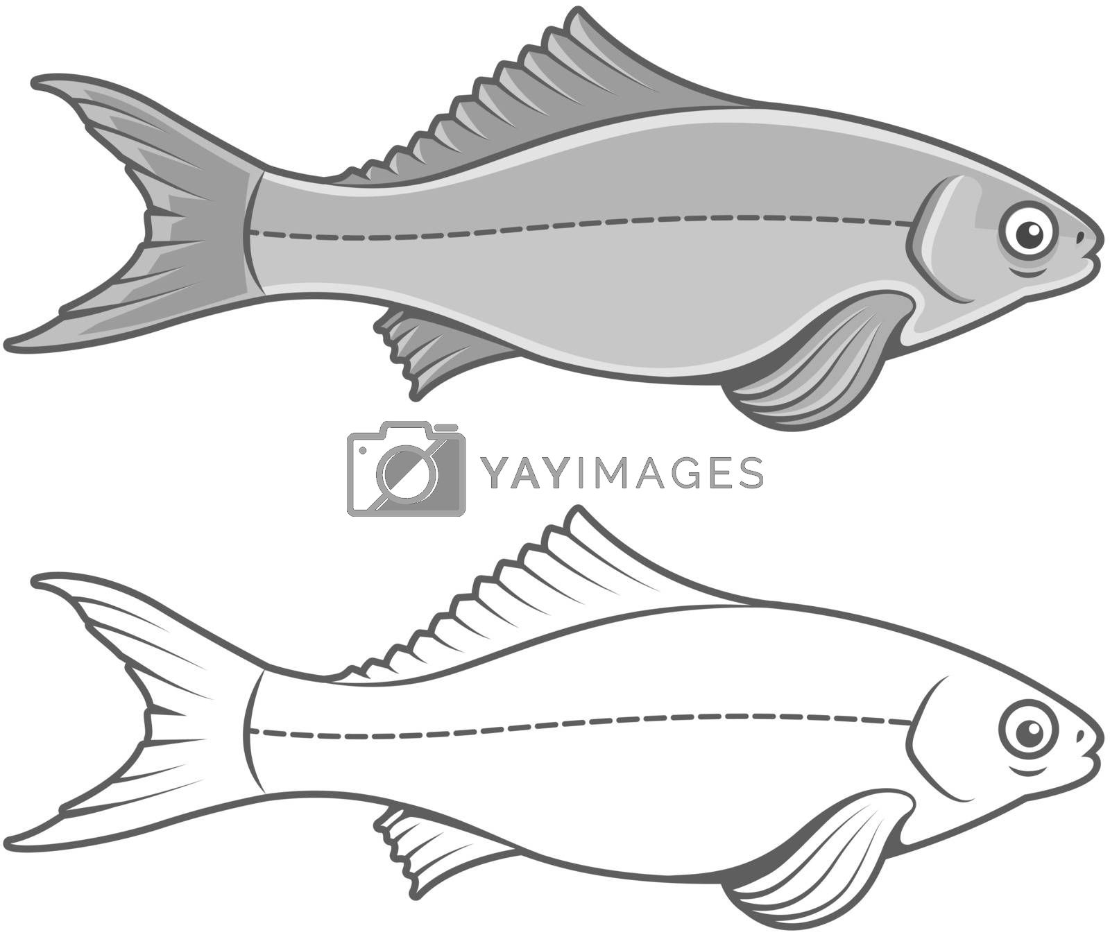 Royalty free image of Silhouette of fish contour drawing by LoopAll