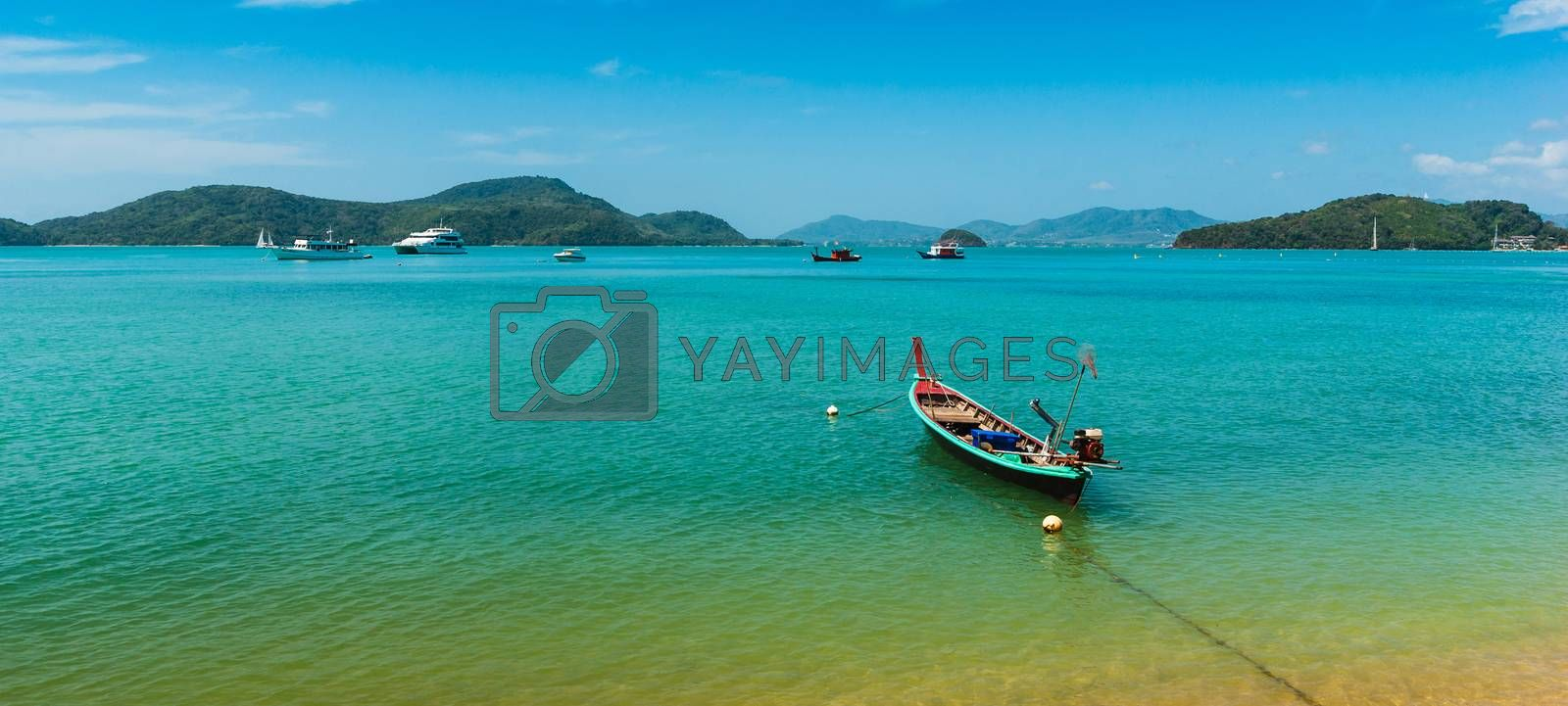 Royalty free image of Boats at sea against the rocks in Thailand by oleg_zhukov