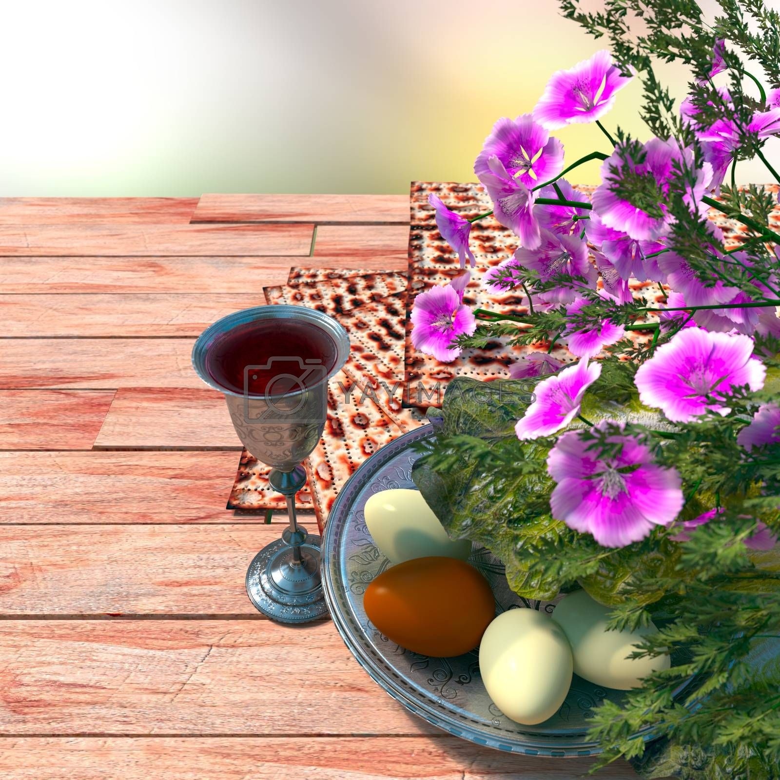 Royalty free image of Jewish celebrate pesach passover with eggs, matzo and flowers on nature background by denisgo