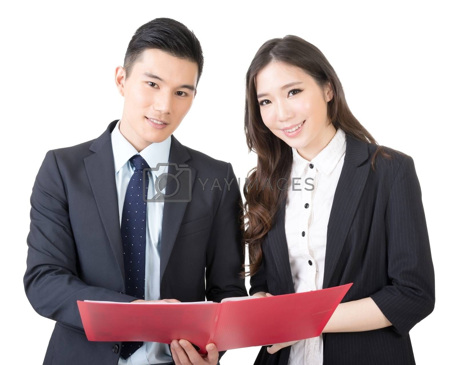 Royalty free image of Business man and woman discuss by elwynn