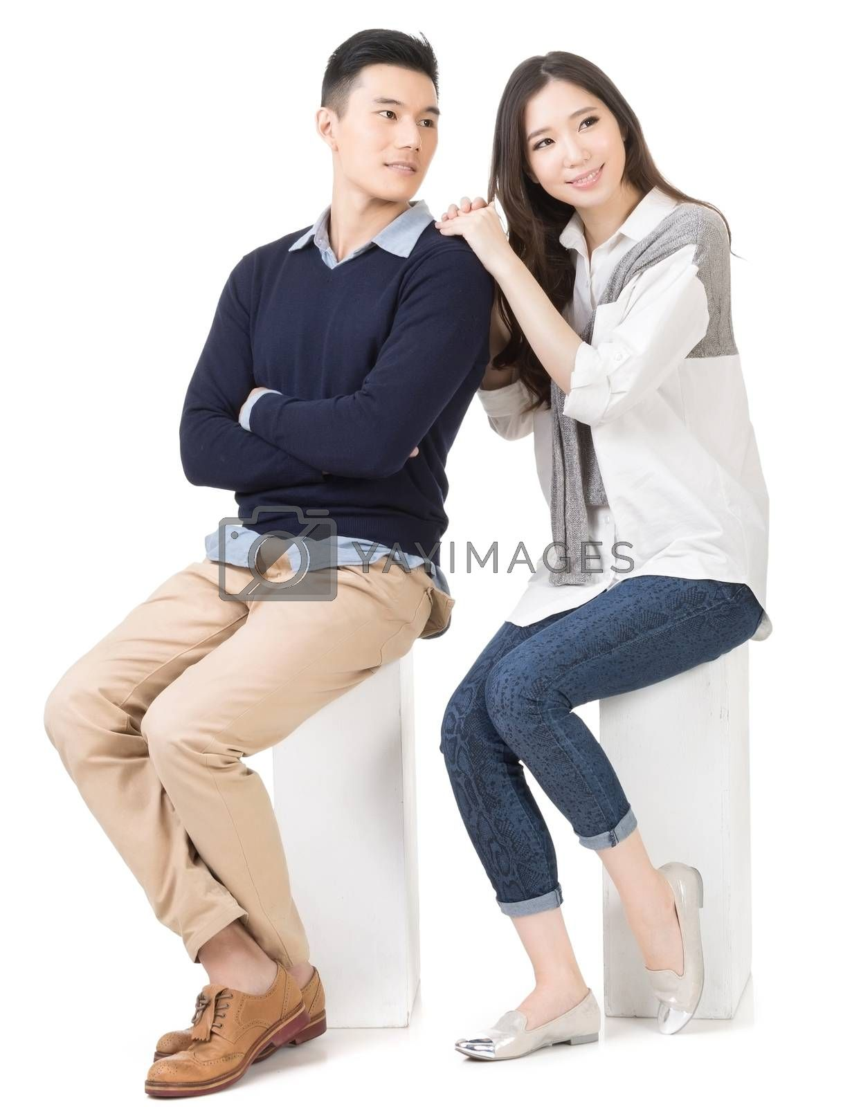 Royalty free image of Portrait of young attractive Asian couple  by elwynn