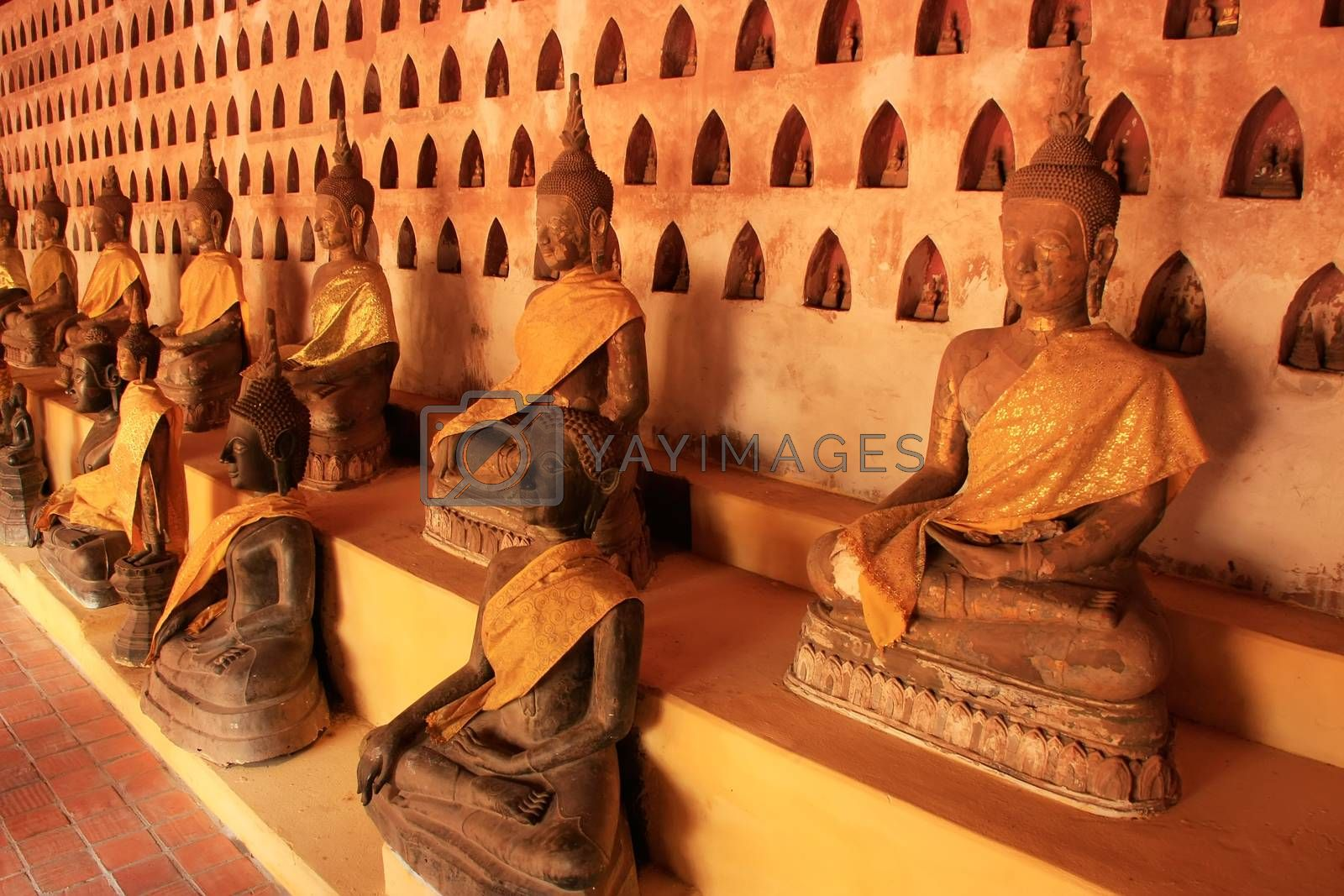 Royalty free image of Buddha statues in Wat Si Saket, Vientiane, Laos by donya_nedomam