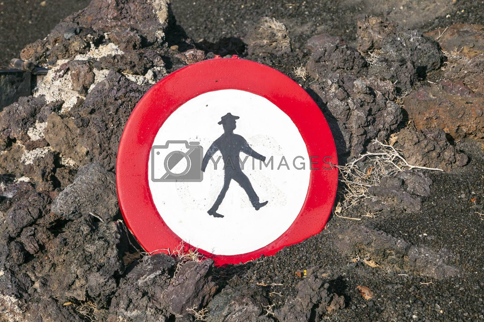 Royalty free image of sign entrance prohibited for walkers at National Park in Timanfa by meinzahn