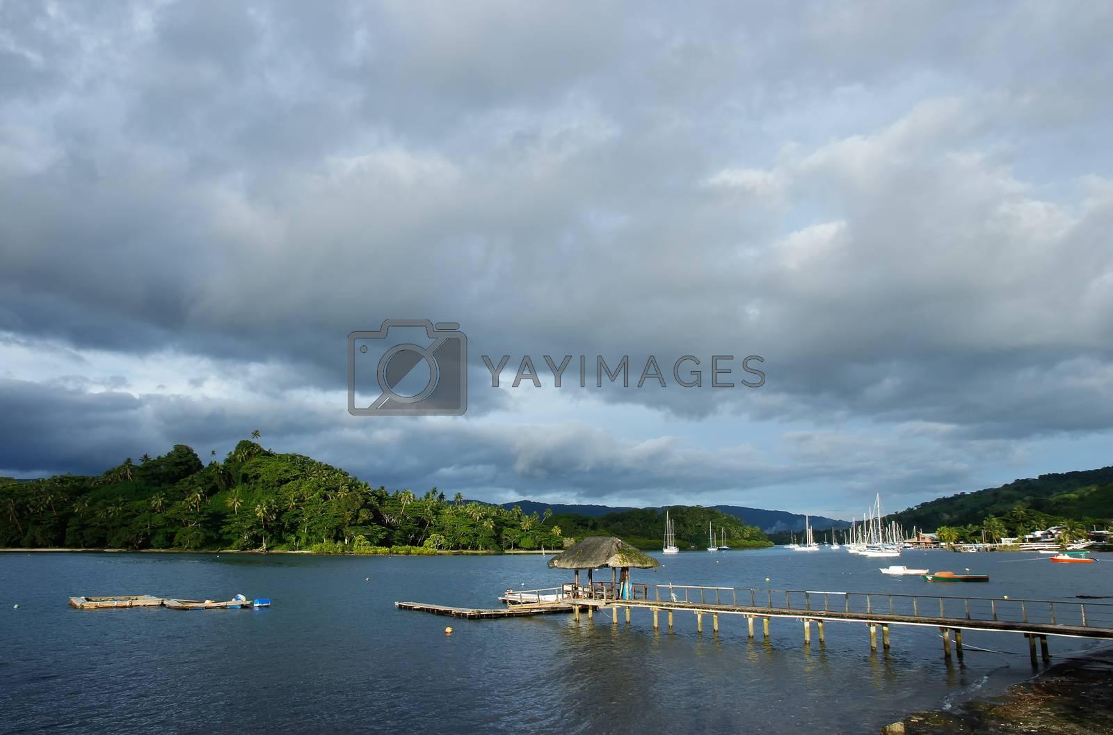 Royalty free image of Wooden pier at Savusavu harbor, Vanua Levu island, Fiji by donya_nedomam