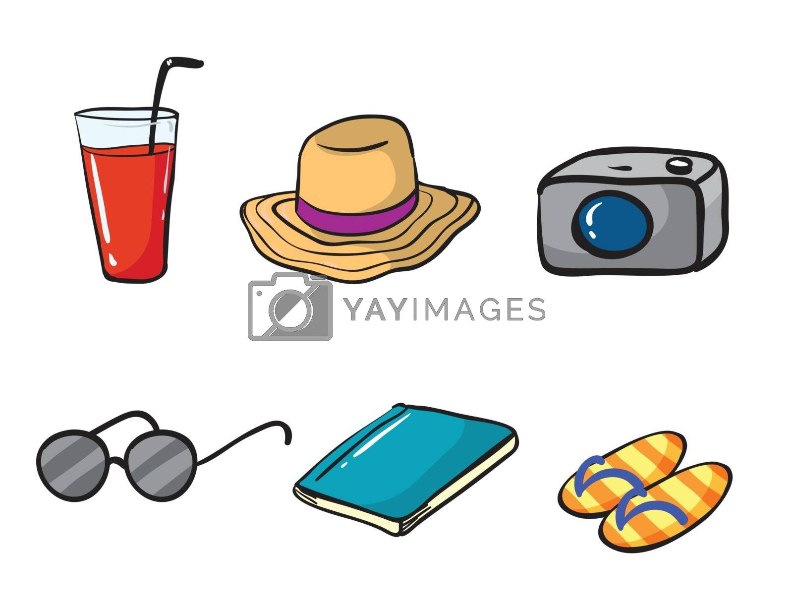 illustration of holiday objects on a white background