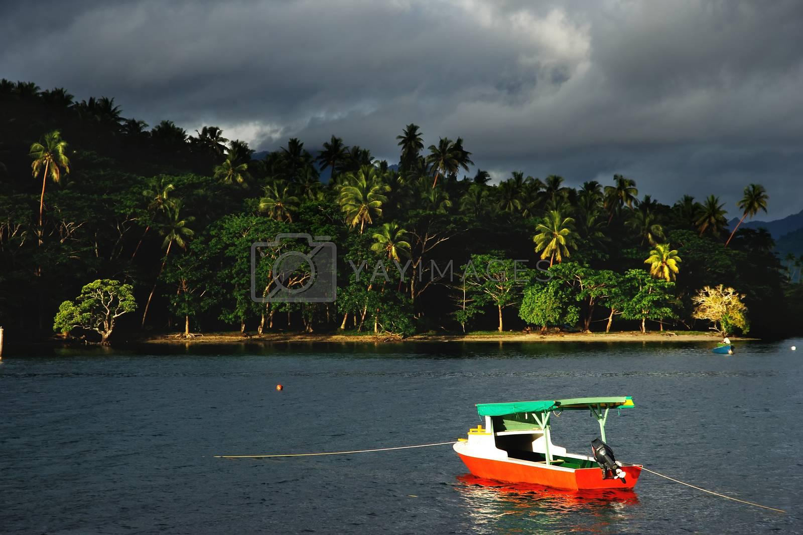Royalty free image of Colorful boat at Savusavu harbor, Vanua Levu island, Fiji by donya_nedomam