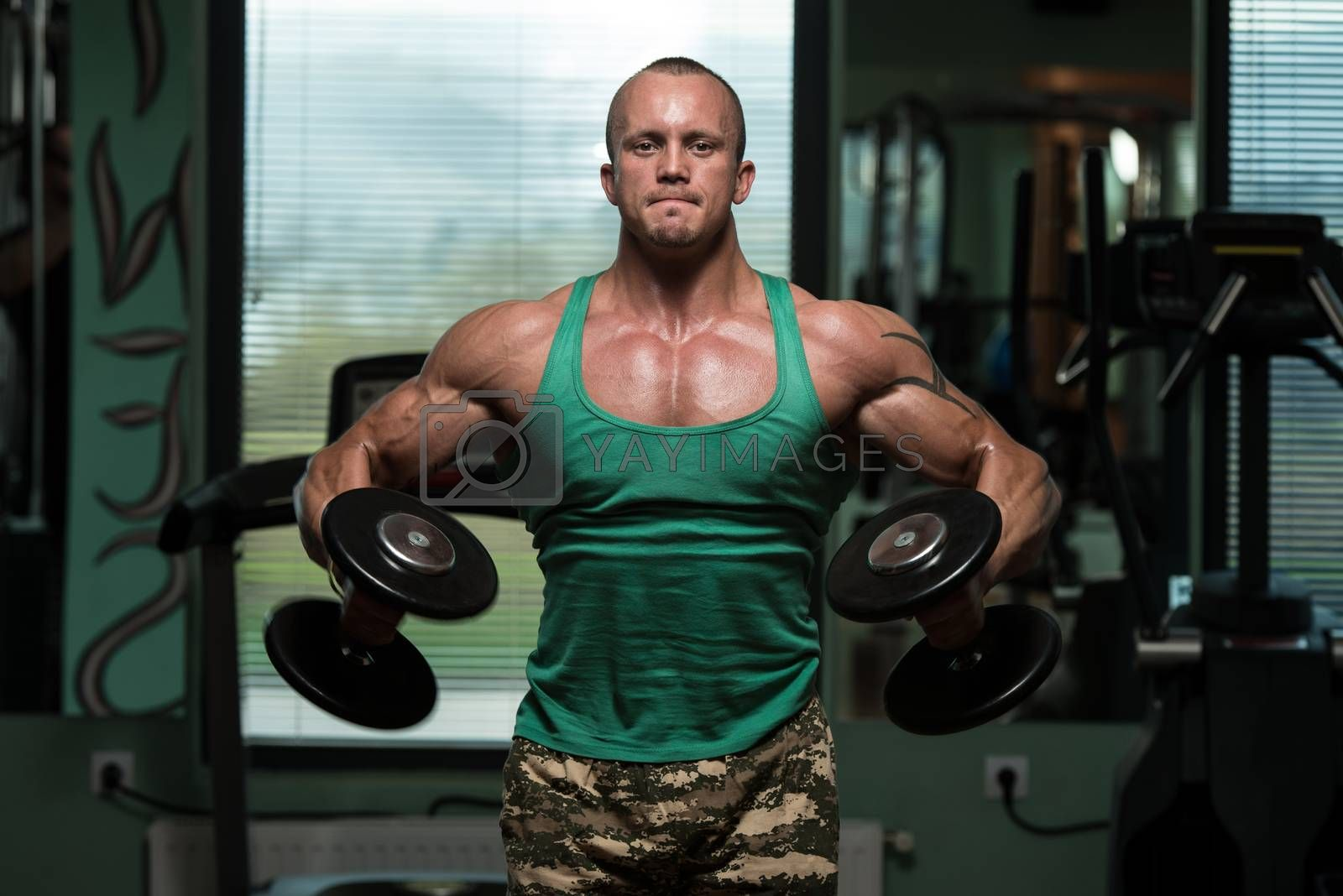 Royalty free image of Exercise For Shoulders Dumbbell Lateral Raise by JalePhoto