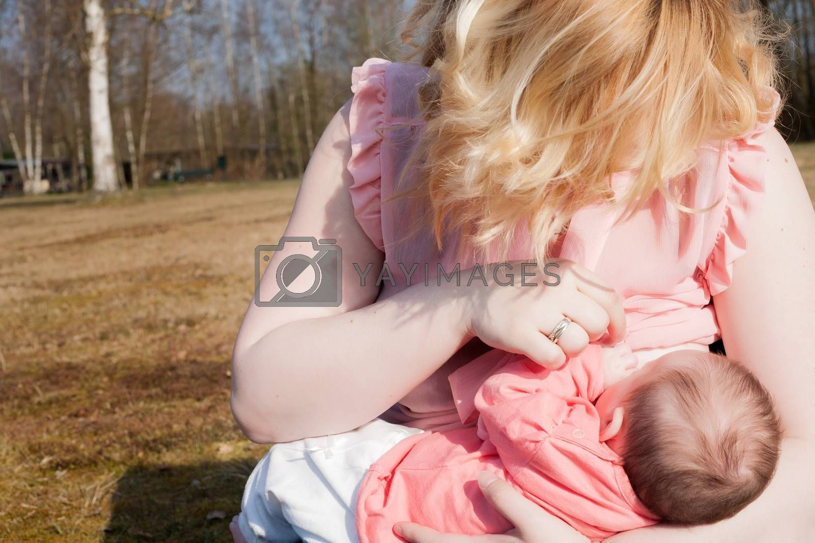 Mother is feeding her baby on the field