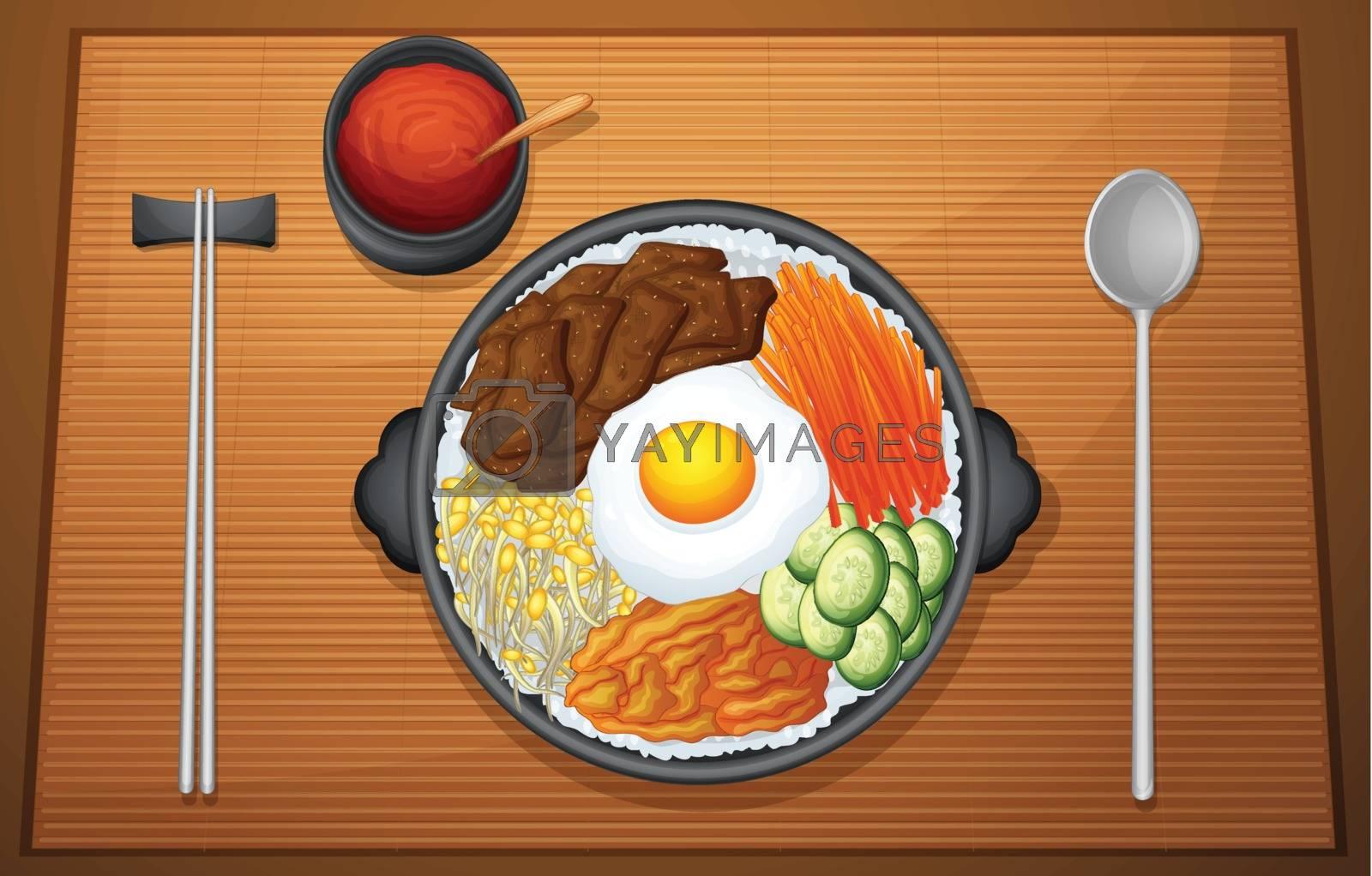 illustration of food on a color background