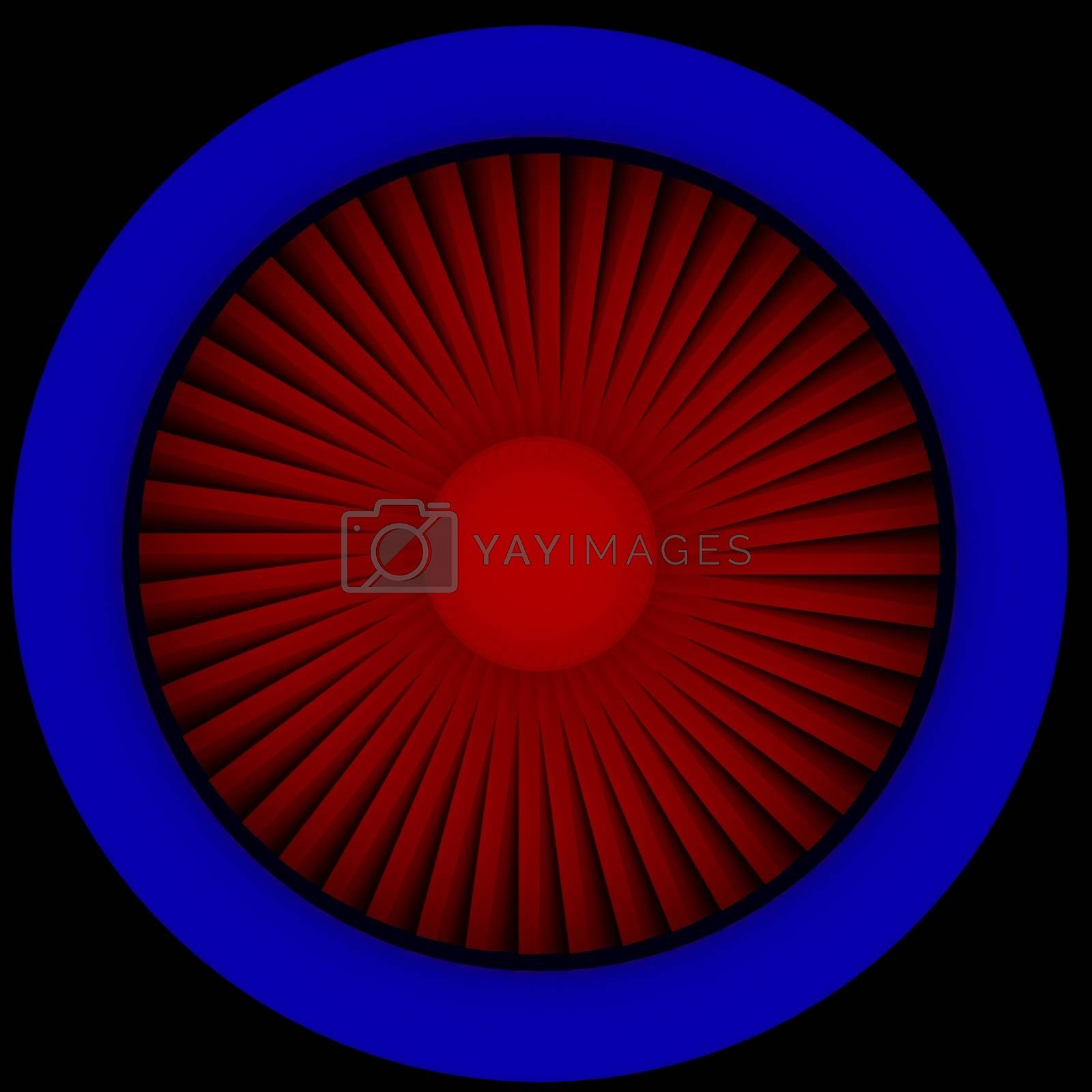 Jet engine. Front view. Red and blue turbine housing. Isolated on white background