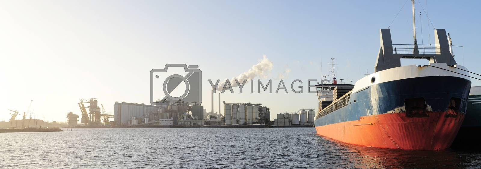 Panoramic view of tanker and power plant  in Amsterdam harbor . Netherlands