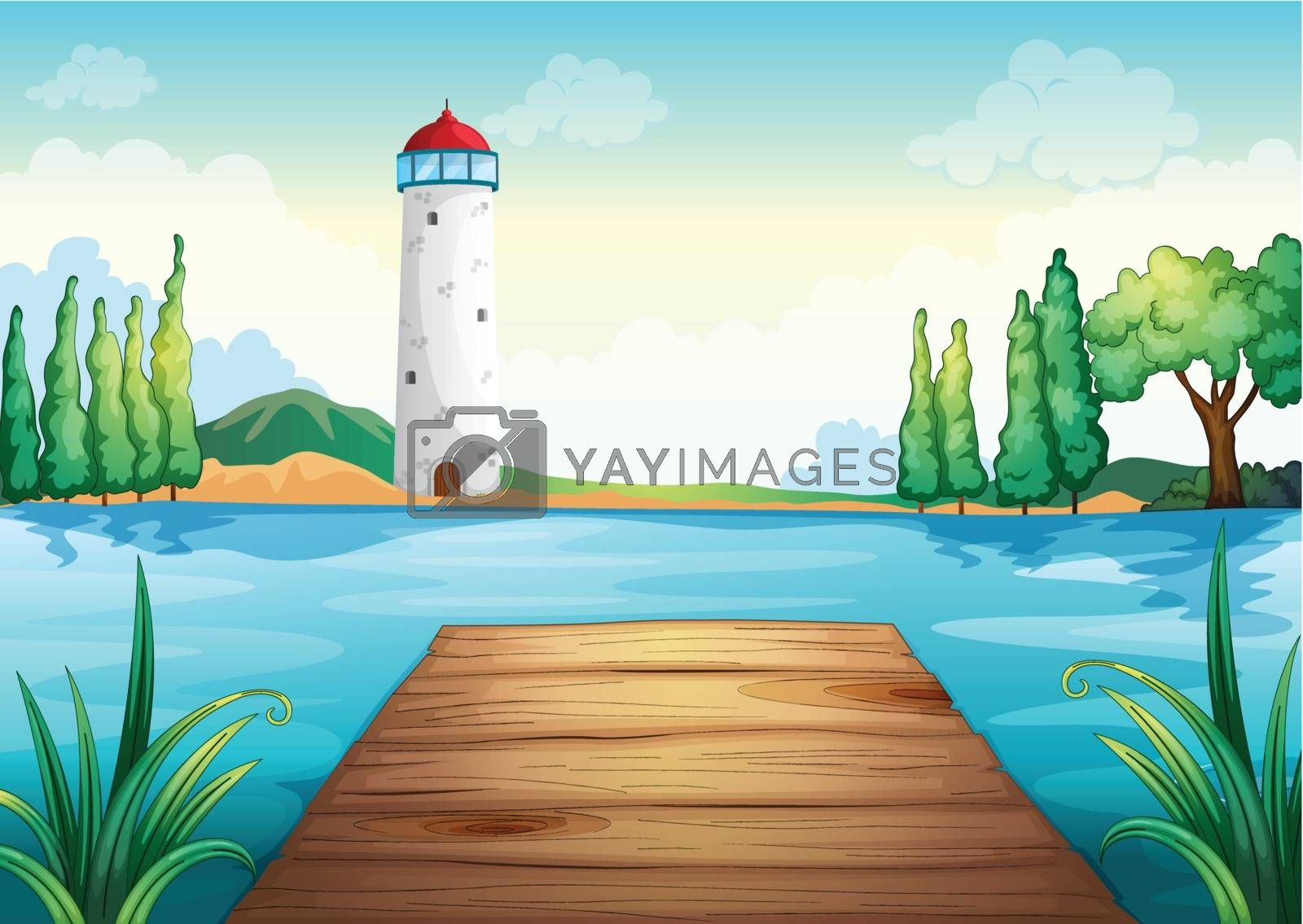 illustration of a light house and wooden bench