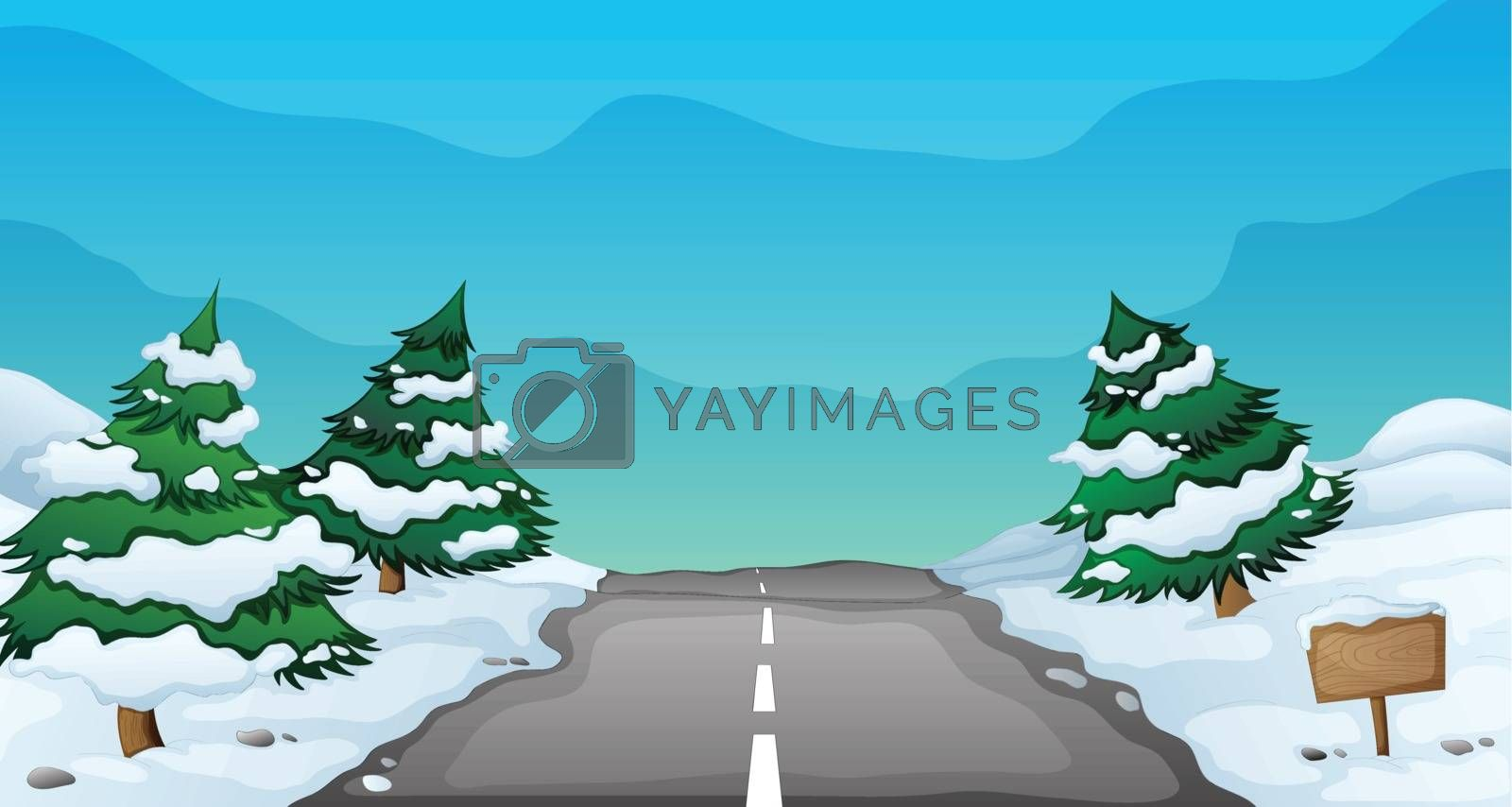 illustration of a snowy landscape and a road