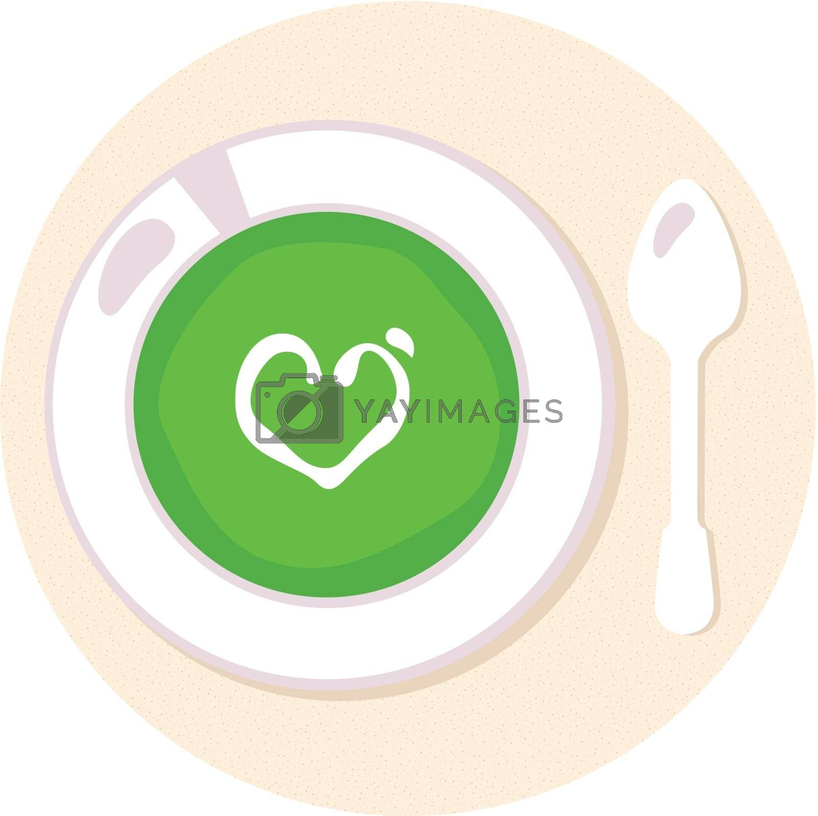 Spinach soup with love heart. Vector Illustration