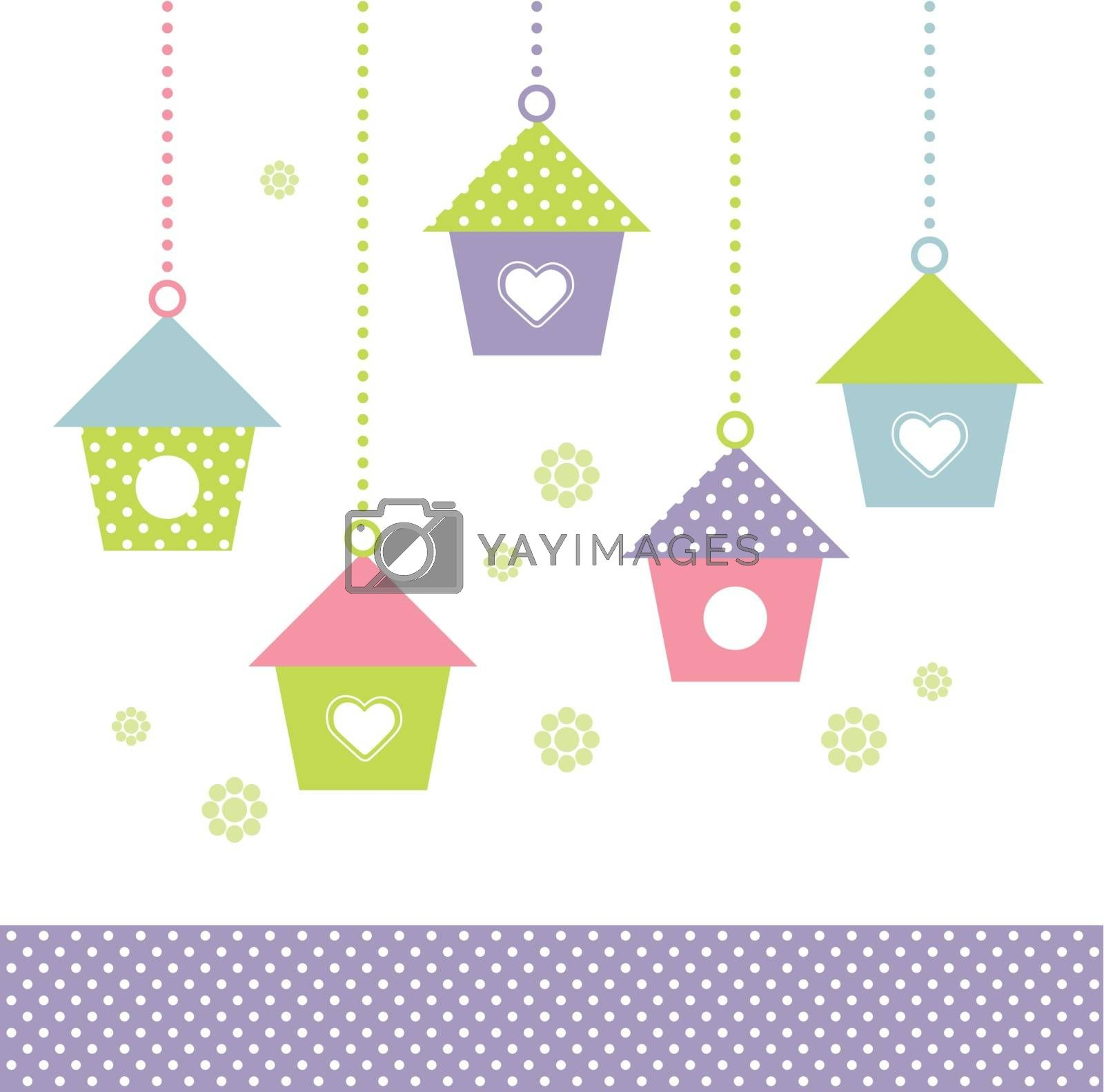 Spring Bird houses in pastel colors. Vector Illustration
