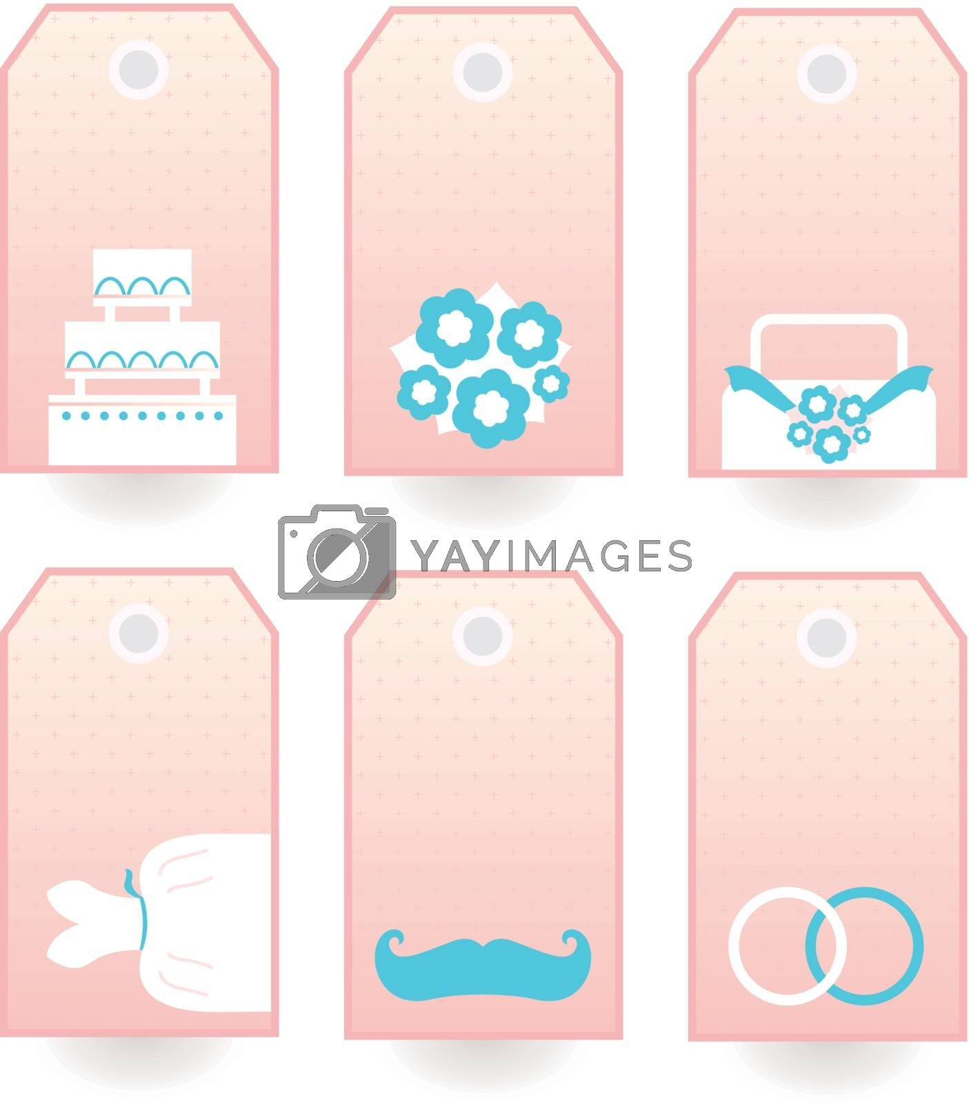 Set of retro Wedding blank labels or tags. Vector Illustration