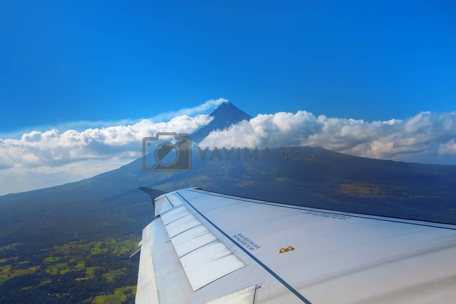 The active Mt Mayon seen from an airplane