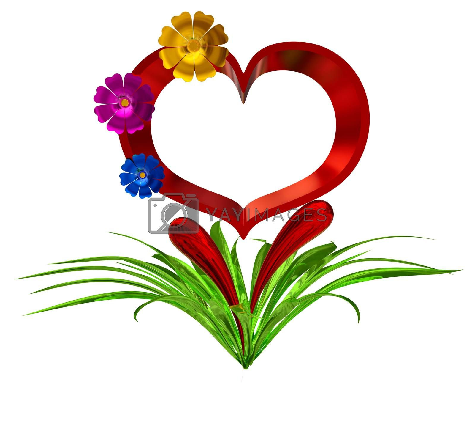 heart in leaves with flowers as a symbol of love