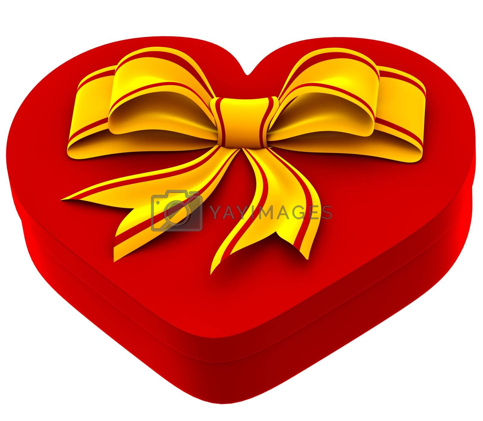 heart shaped box with golden bow for gift on white background
