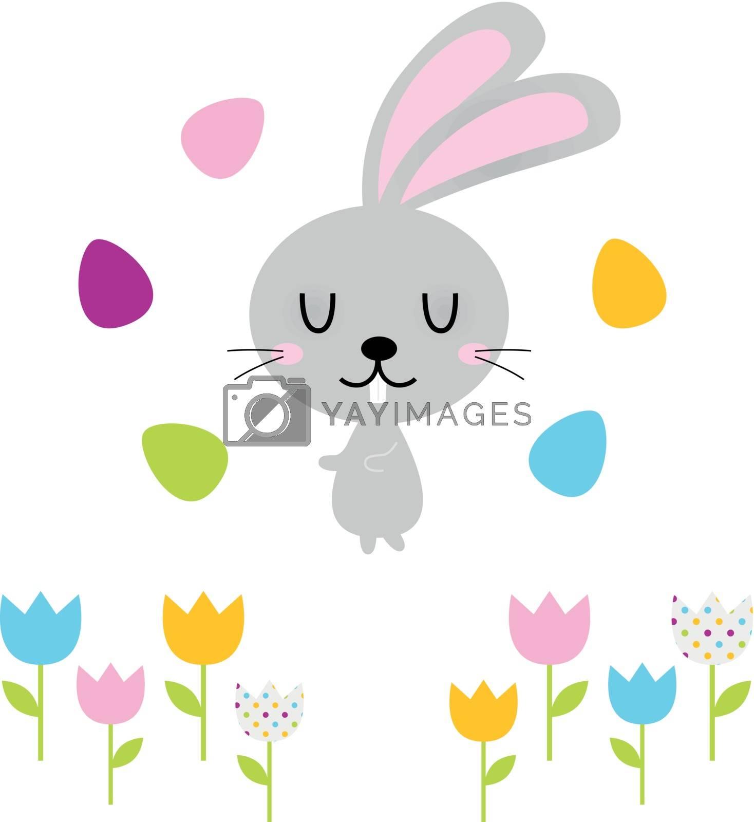 Beautiful adorable Easter bunny set. Vector Illustration