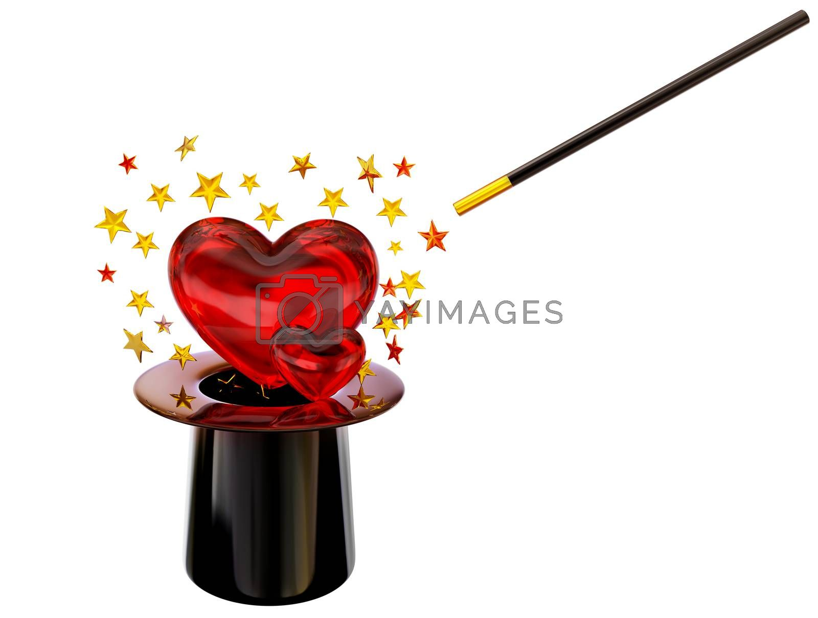 Retro style hat with magic wand and stars for love spell on white background