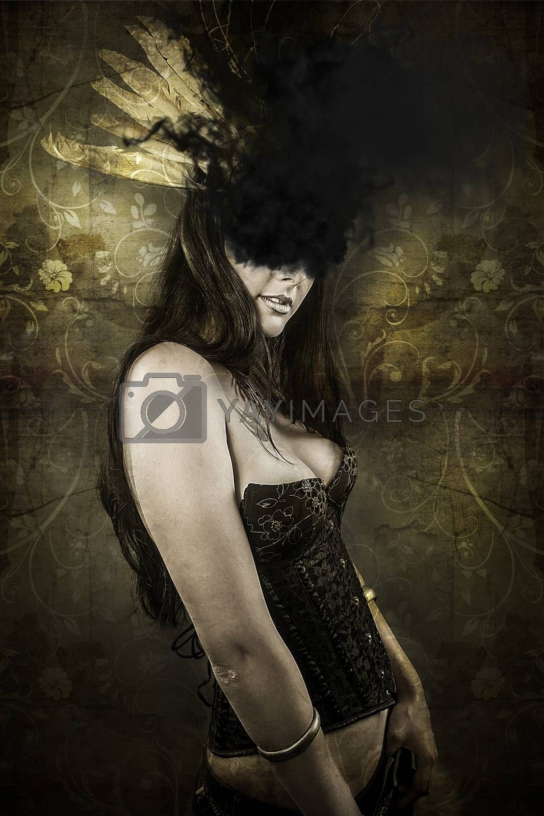 Sensual woman with black smoke in her eyes