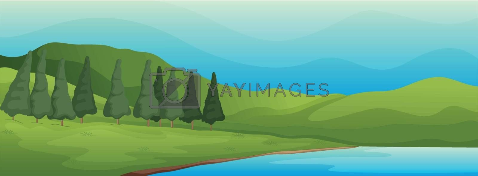 green landscape and lake by iimages