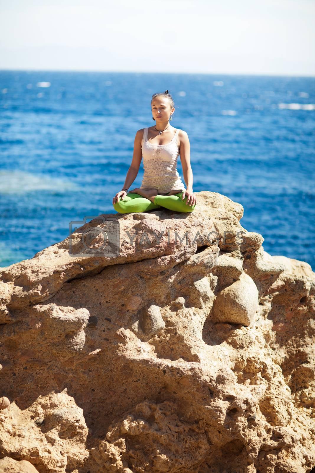 yoga on the rock