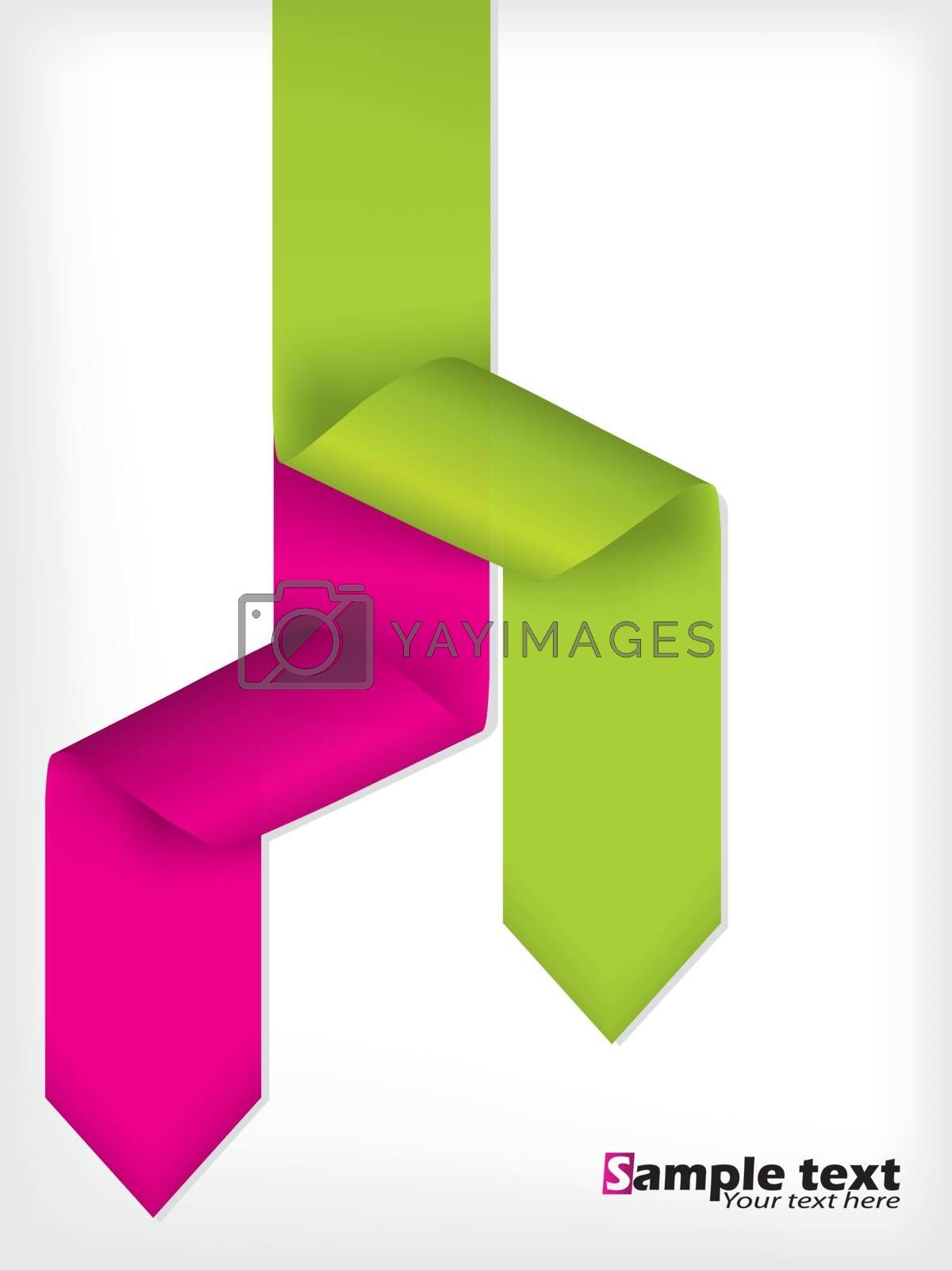 Abstract brochure design with pink and green arrow ribbons