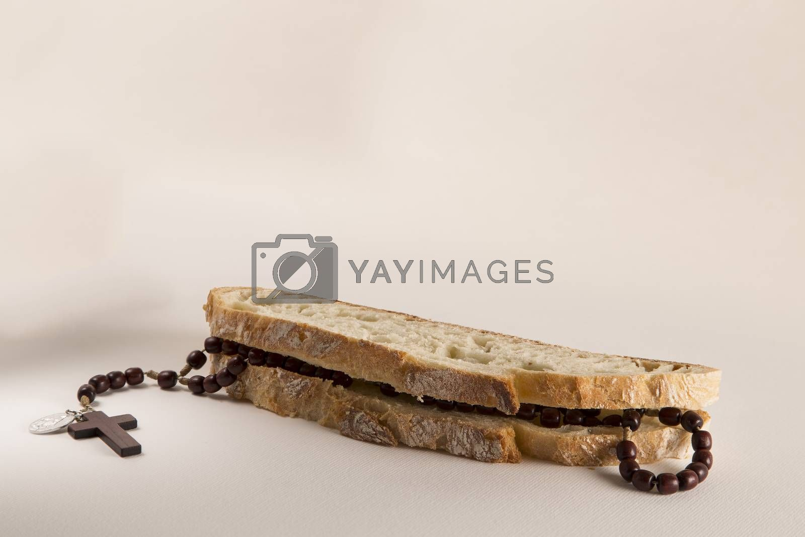 Italian bread and Holy Rosary beads necklace