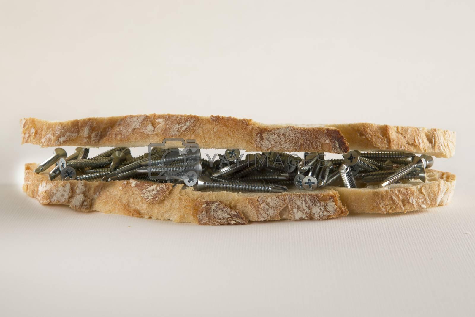 Sandwich with screws