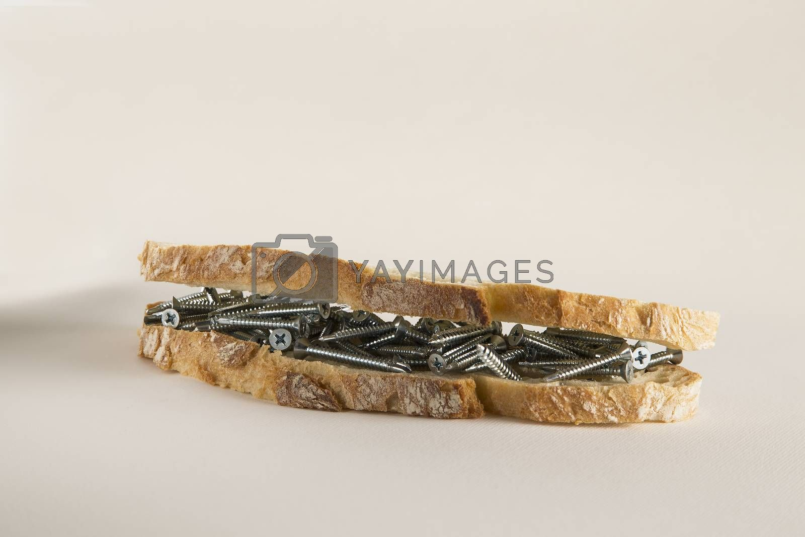 Royalty free image of Sandwich with screws by paocasa