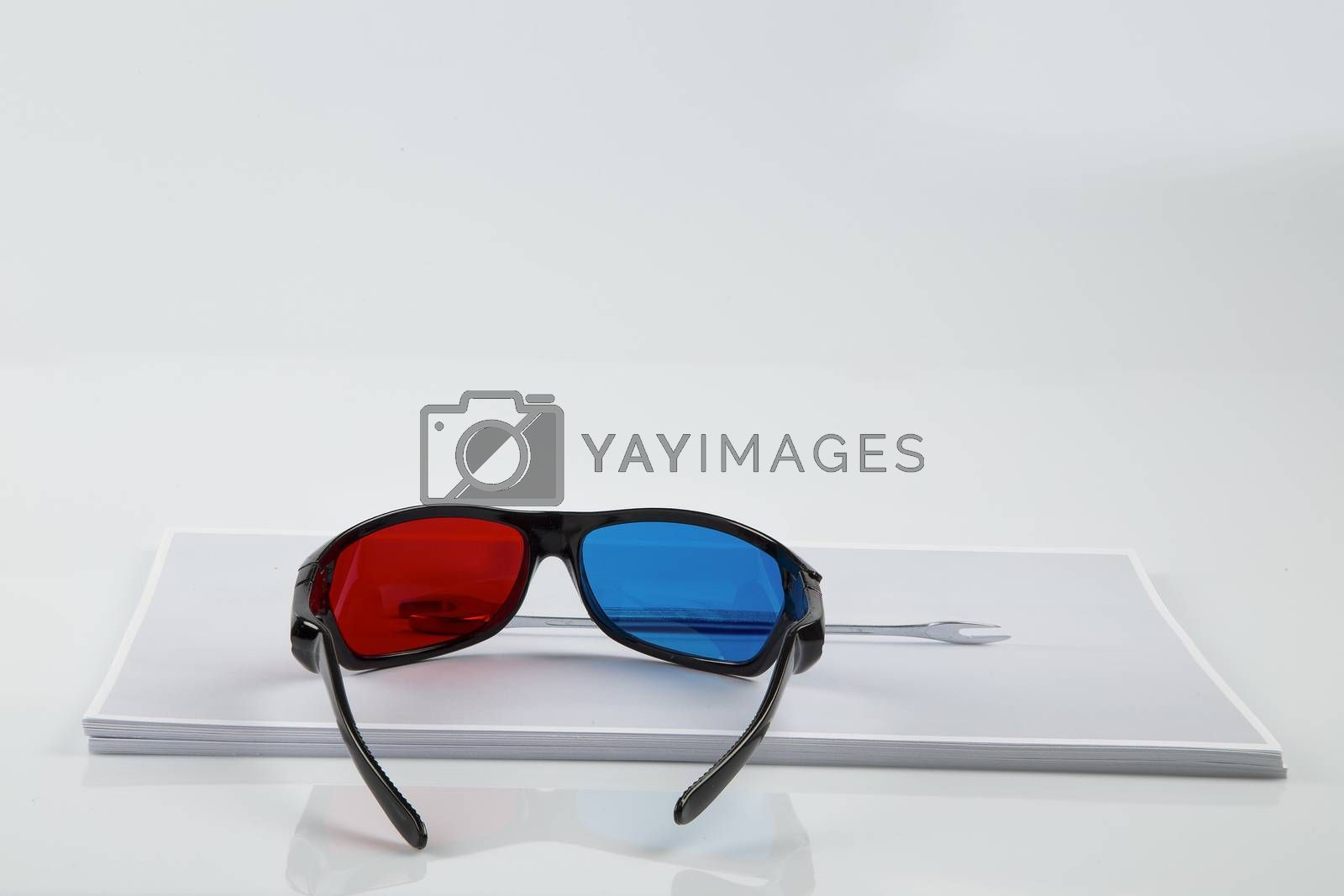 3D Print: black 3D anaglyphic Red Blue glasses and paper printed wrench by paocasa