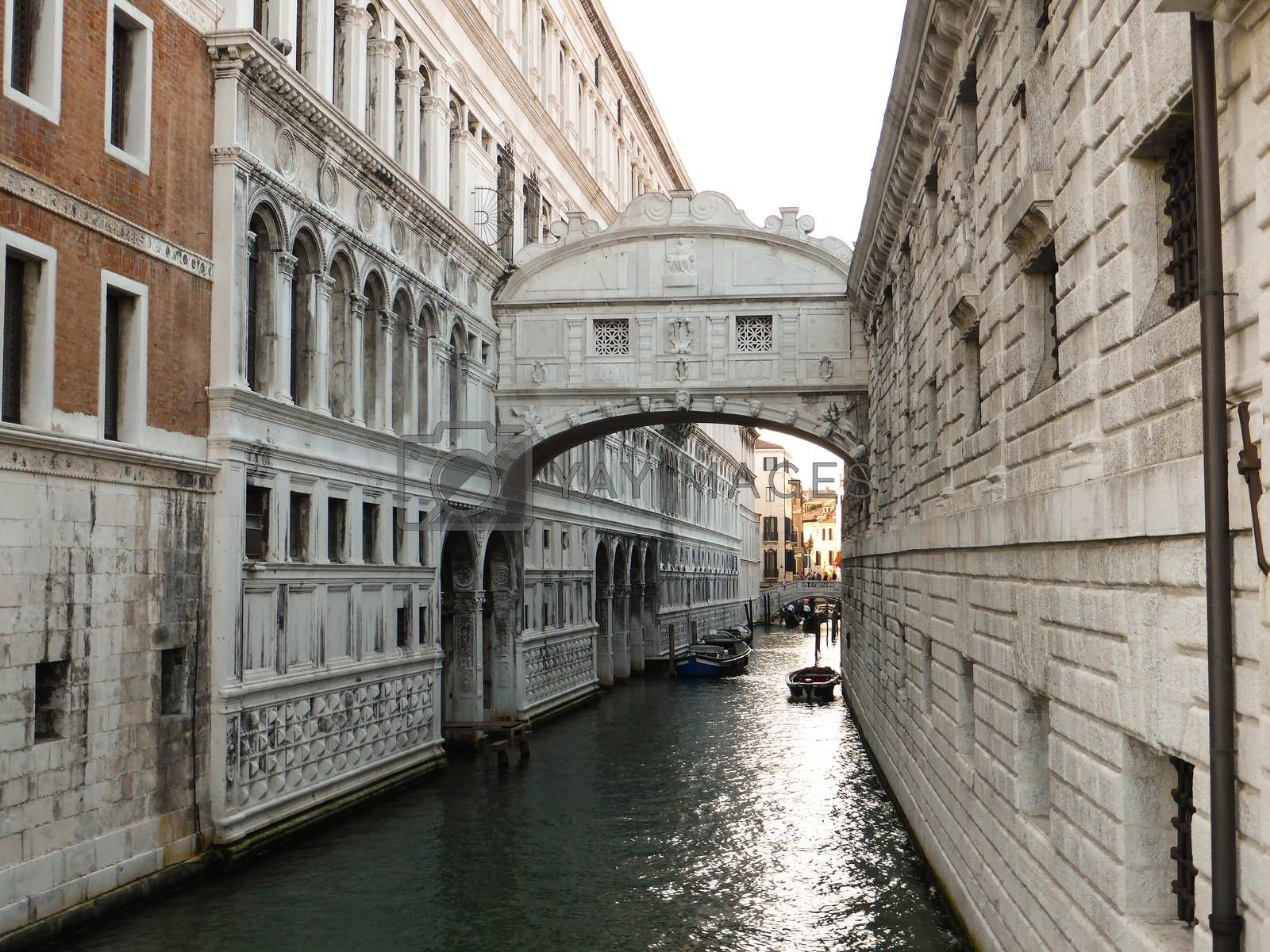 Venice, Italy - July 20, 2013: The Bridge of Sighs in Venice on July 20, 1013. The Bridge of Sighs is one of the most visited attractions in Venice and it was build in 1602.