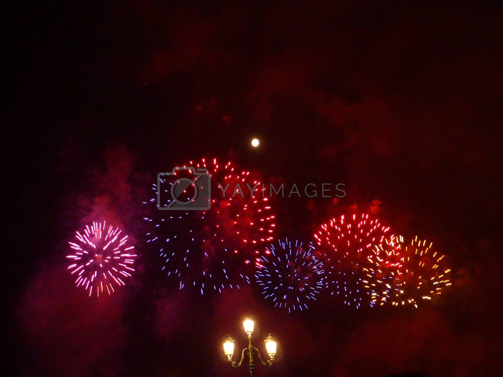 Venice, Italy - July, 20: Fireworks show during the Festival of the Redeemer in Venice on July 20, 2013. The fireworks are considered the best in Europe: they are the main attraction of the Festival of the Redeemer. The Venetians��� favourite event is a thanksgiving to Jesus Christ for the end of the Plague in 1577.