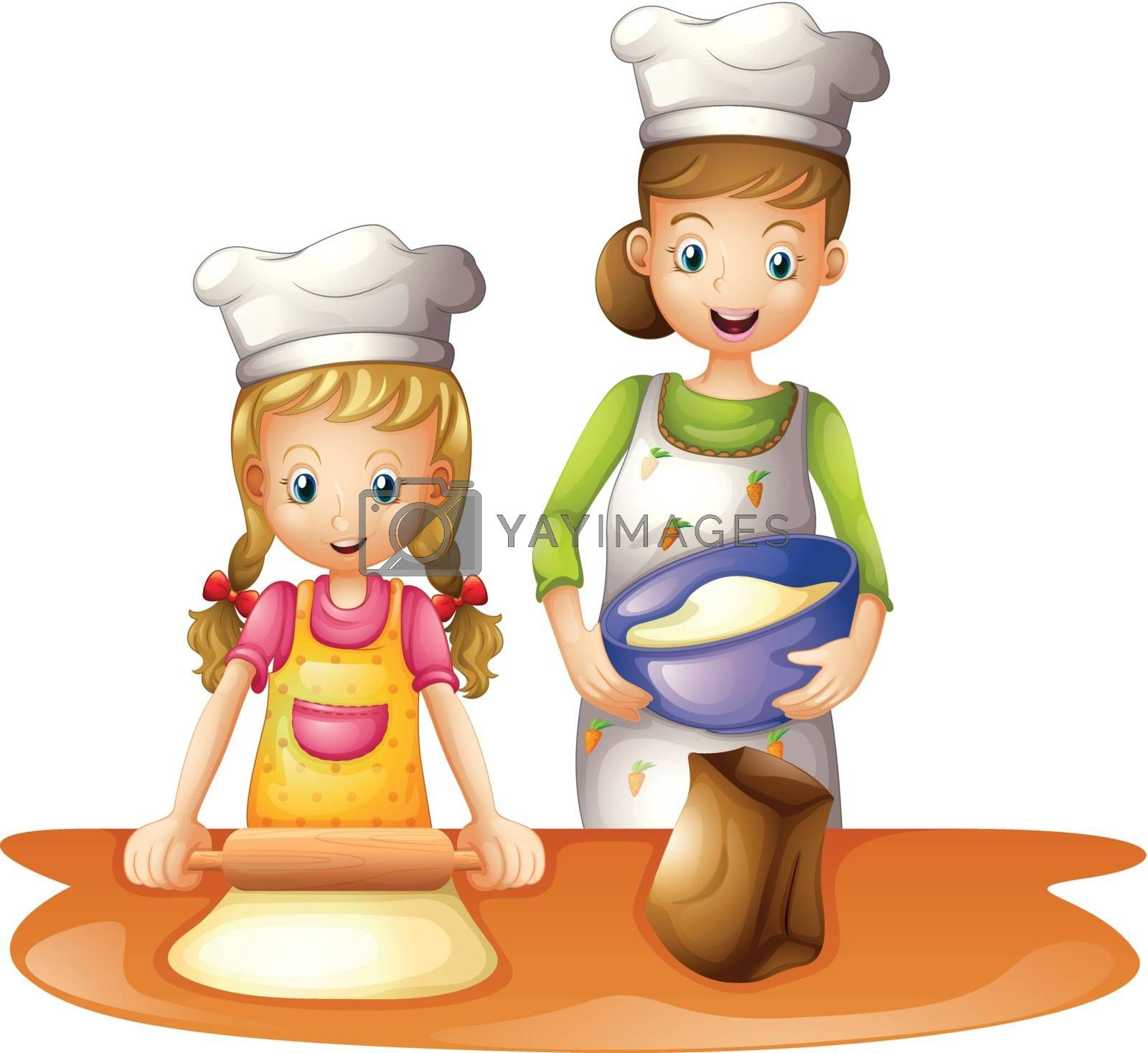 illustration of a mother and a daughter on a white background