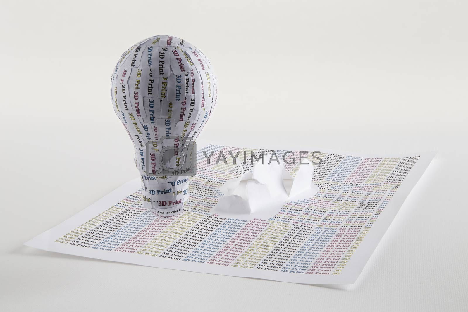 CYMK 3D Printing concept: lightbulb, from idea to solid model