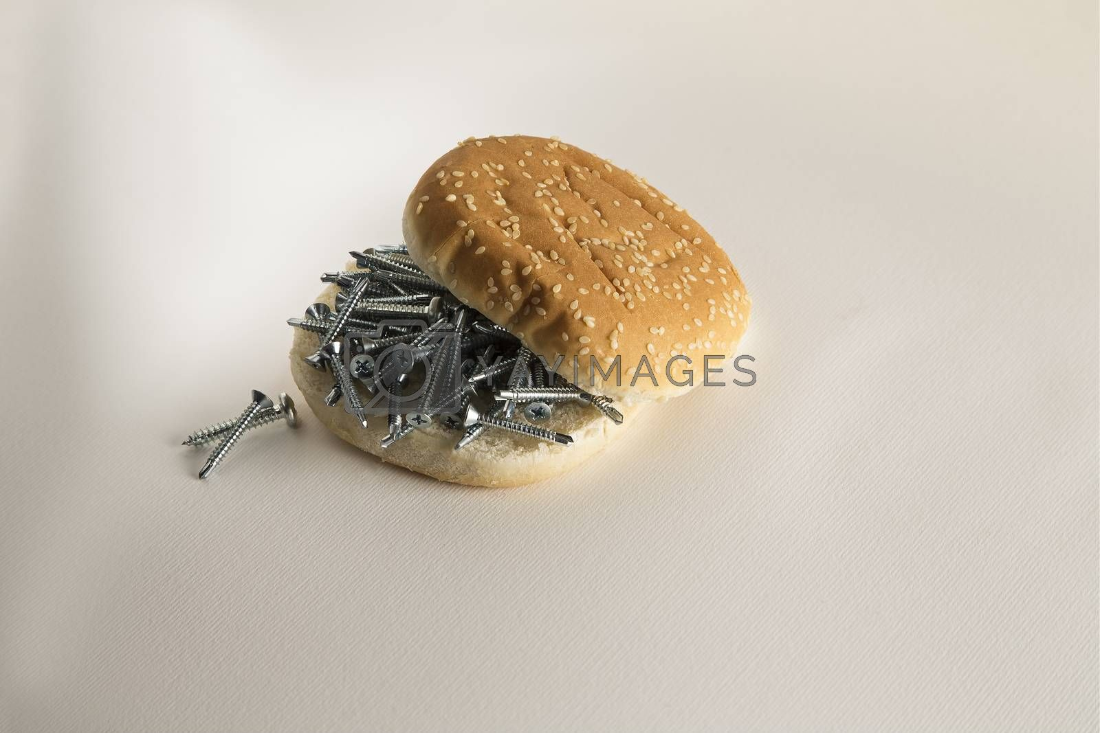 Fast food sesame bread  with screws