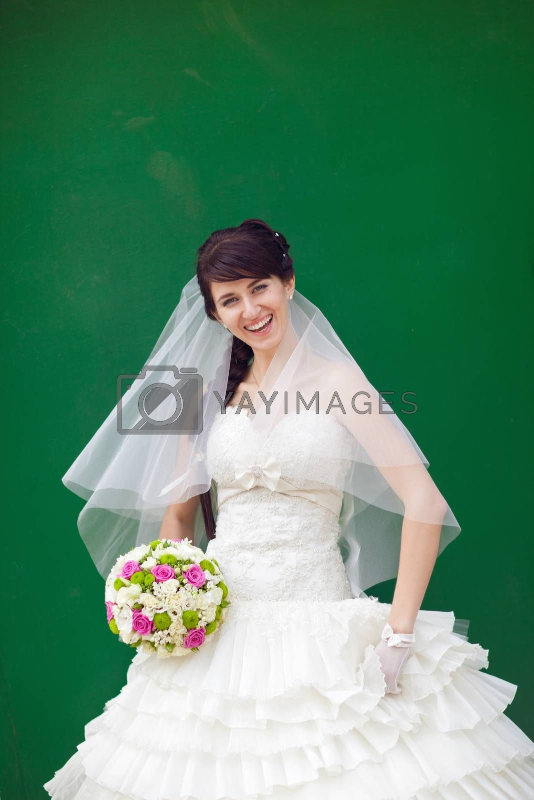 bride by the green wal
