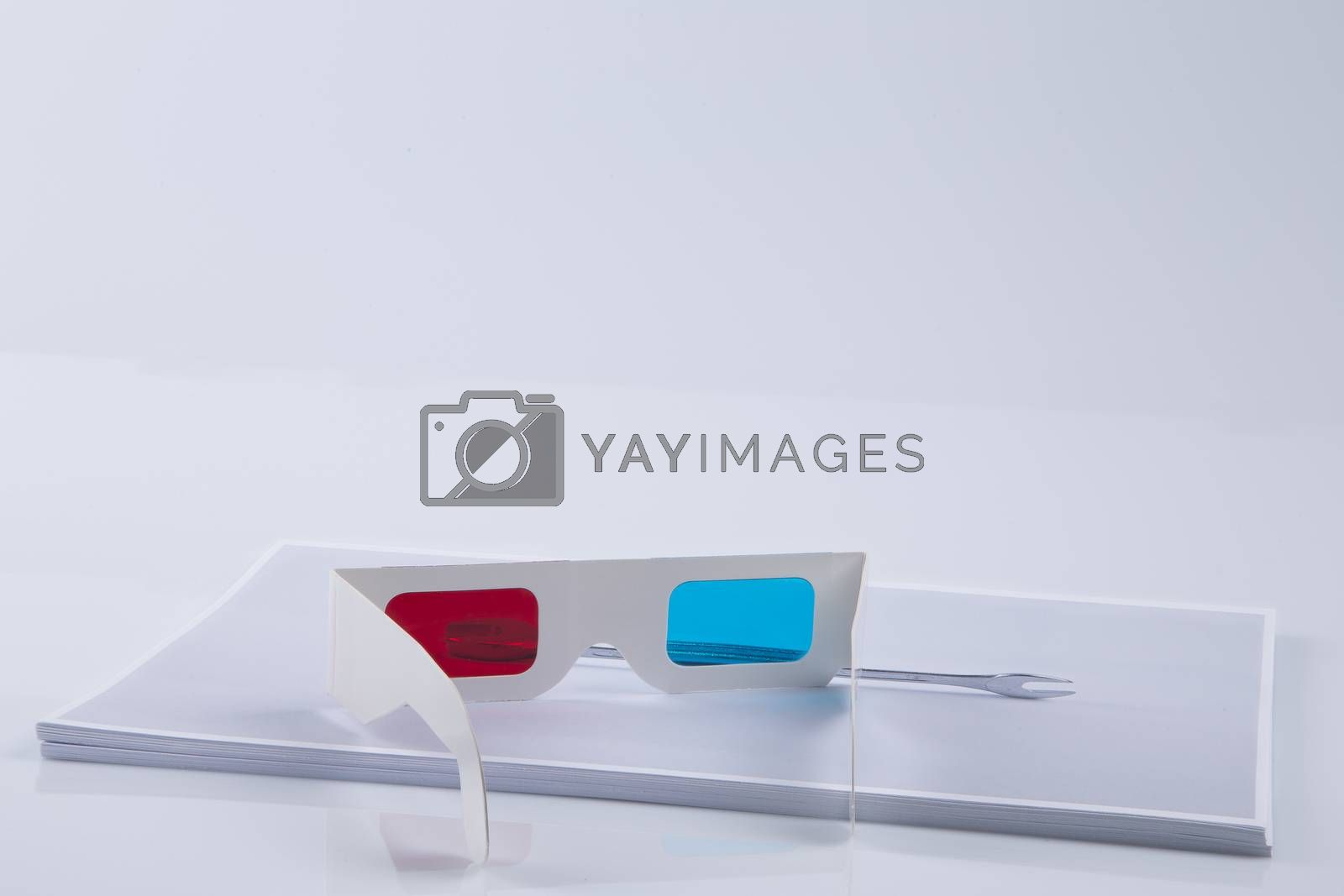 3D Print: white 3D anaglyphic Red Blue glasses and paper printed wrench