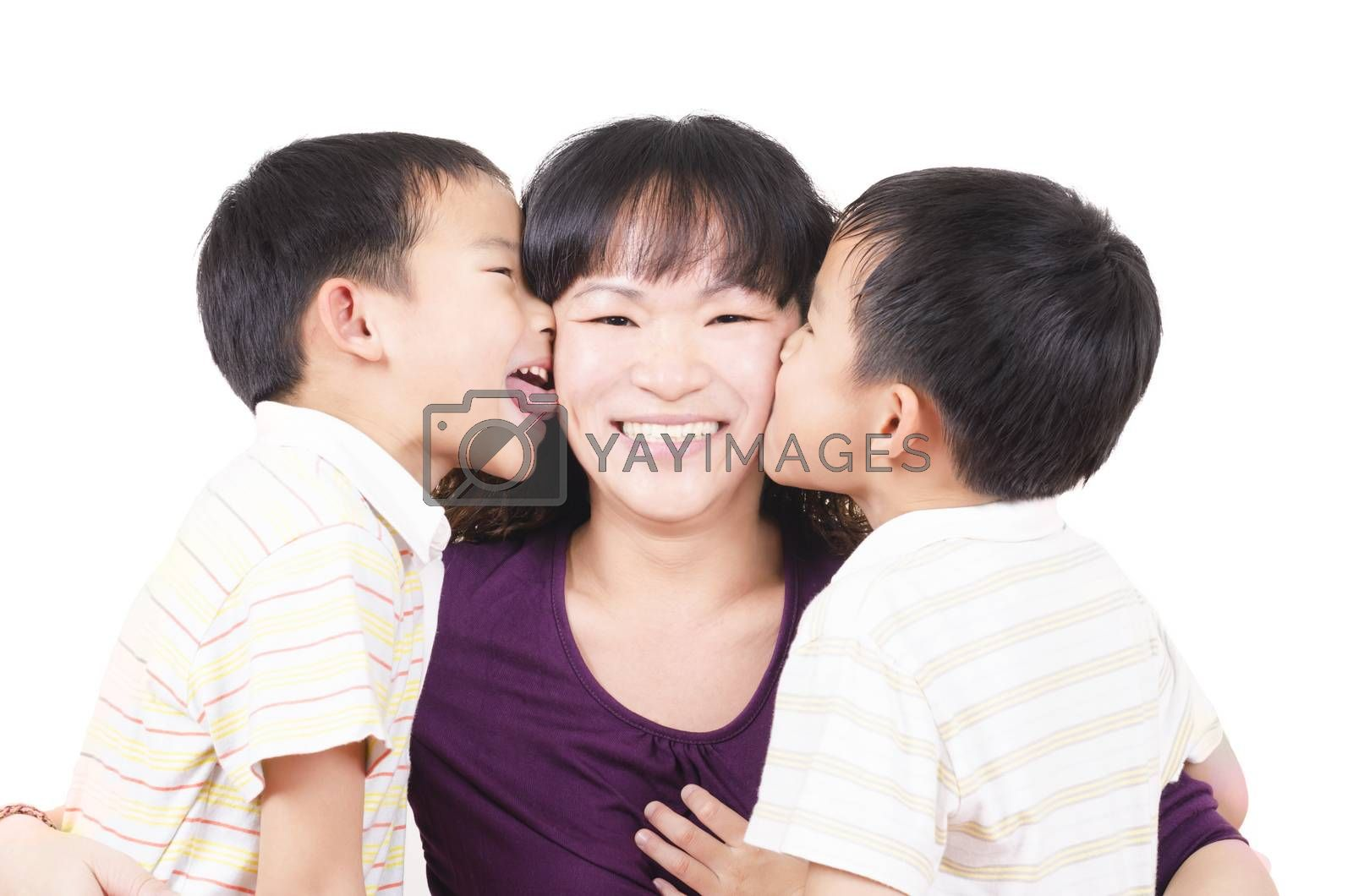 Royalty free image of Happy twin kiss mother by FrankyLiu
