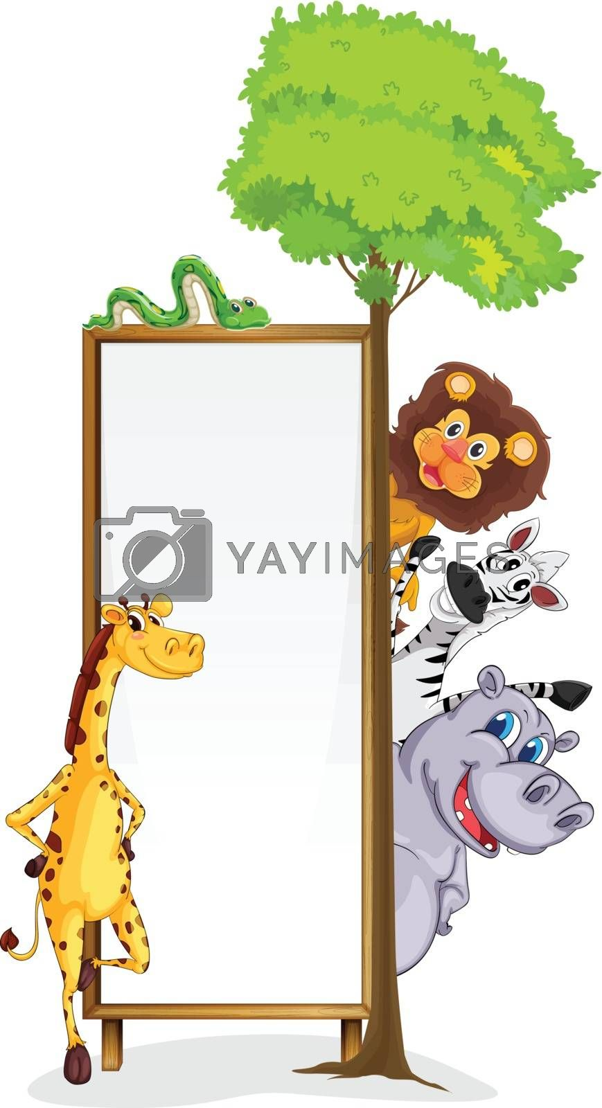 illustration of various animals and board on a white