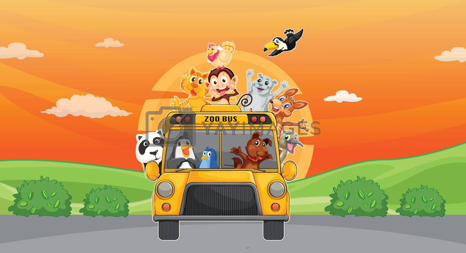 illustration of a animals and zoo bus on road