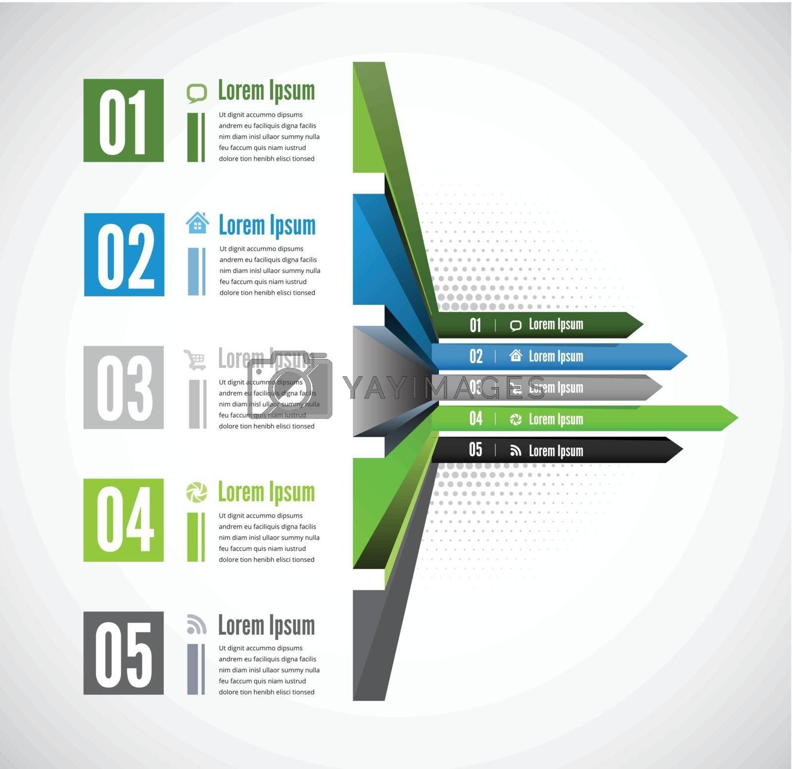 Vector 3d line arrow business concepts with icons by sermax55