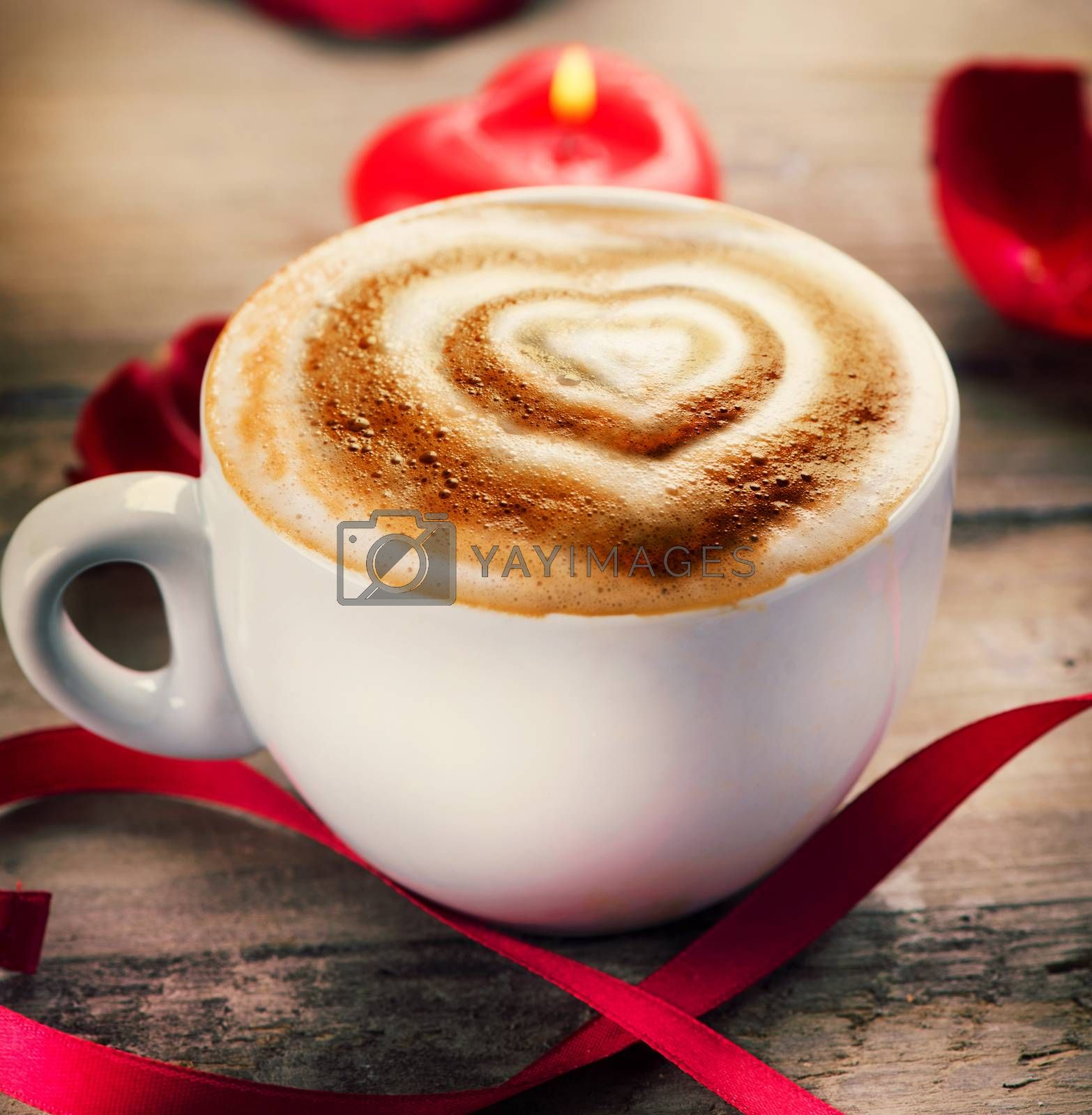 Valentine's Day Coffee or Cappuccino with heart on foam by Subbotina Anna