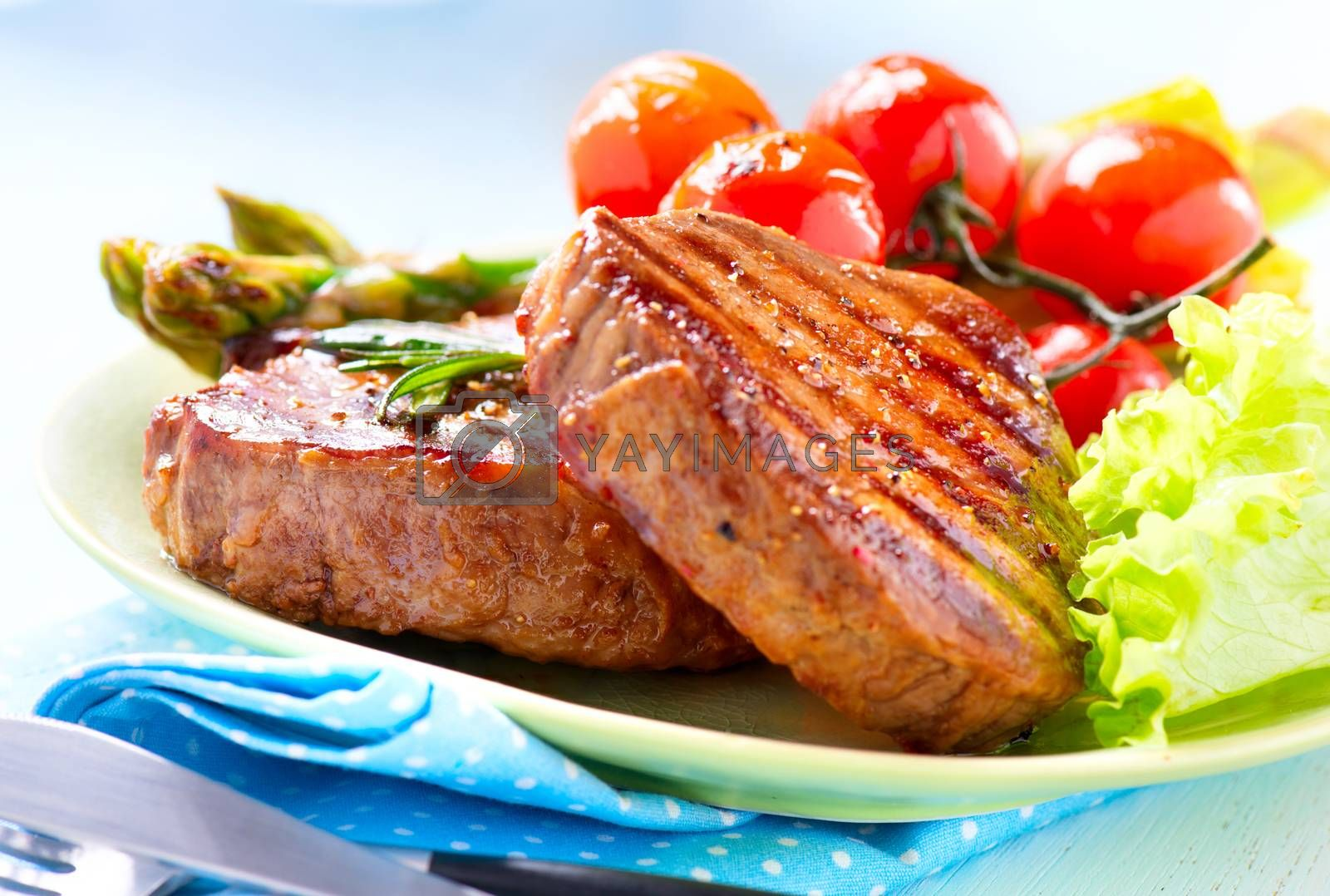 Steak. Grilled Beef Steak Meat with Vegetables by Subbotina Anna