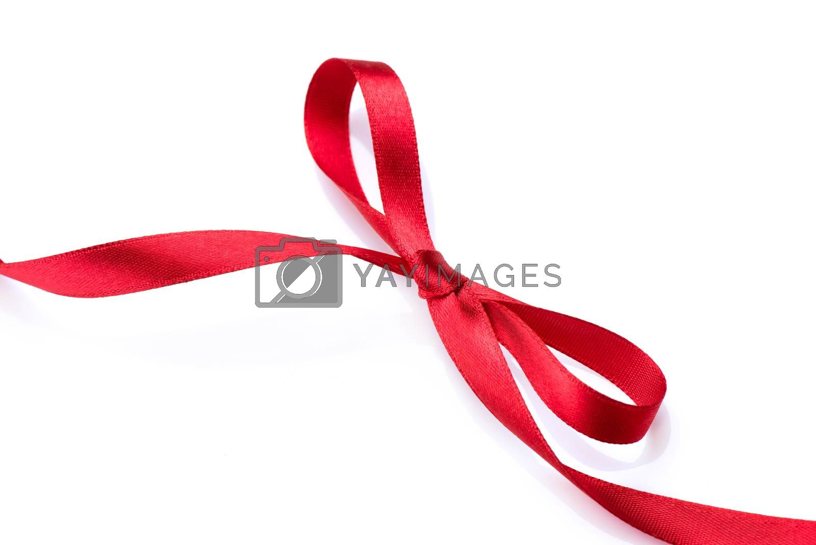 Red satin gift bow. Red silk ribbon by Subbotina Anna