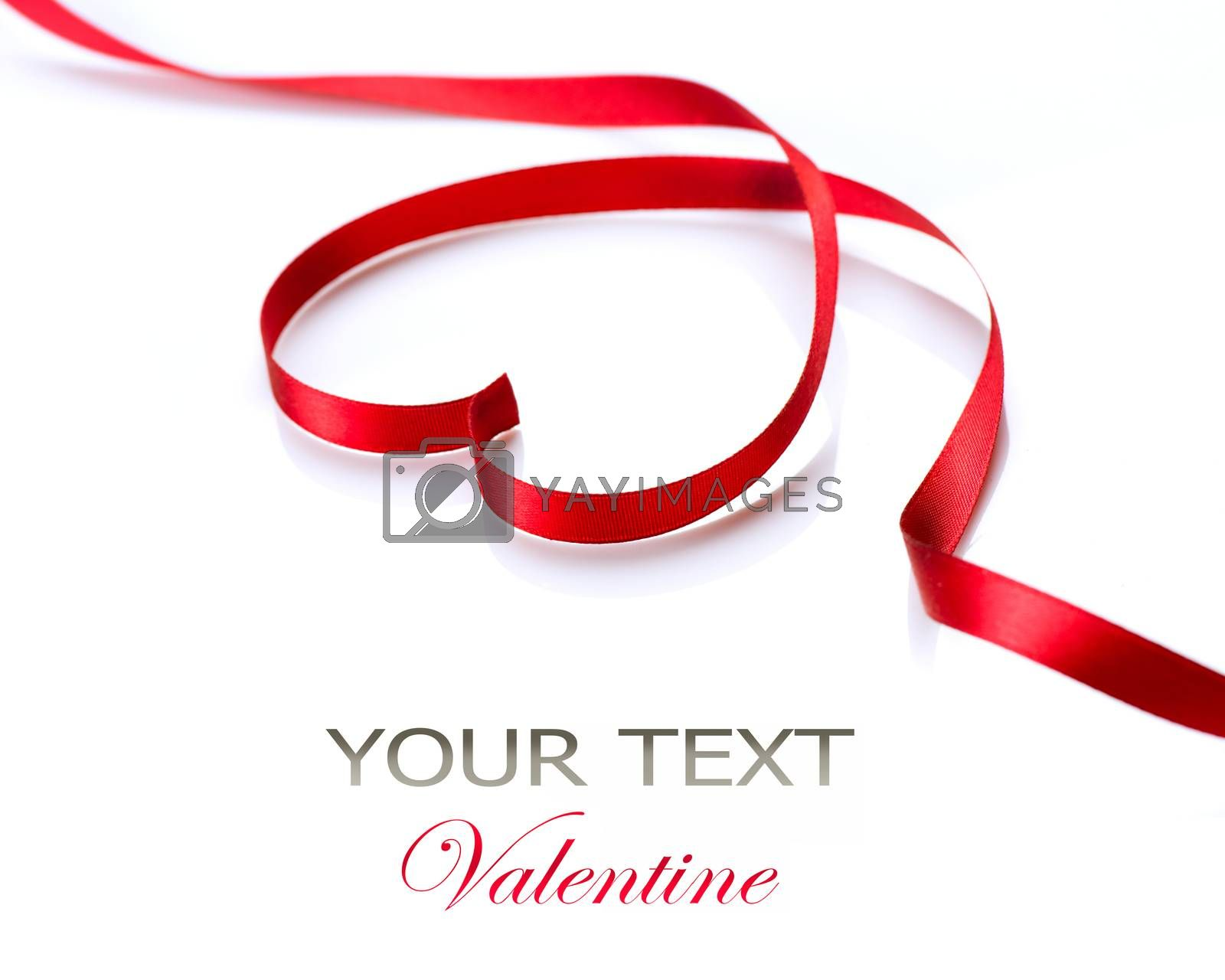 Valentine Heart. Red Silk Ribbon. Love Symbol