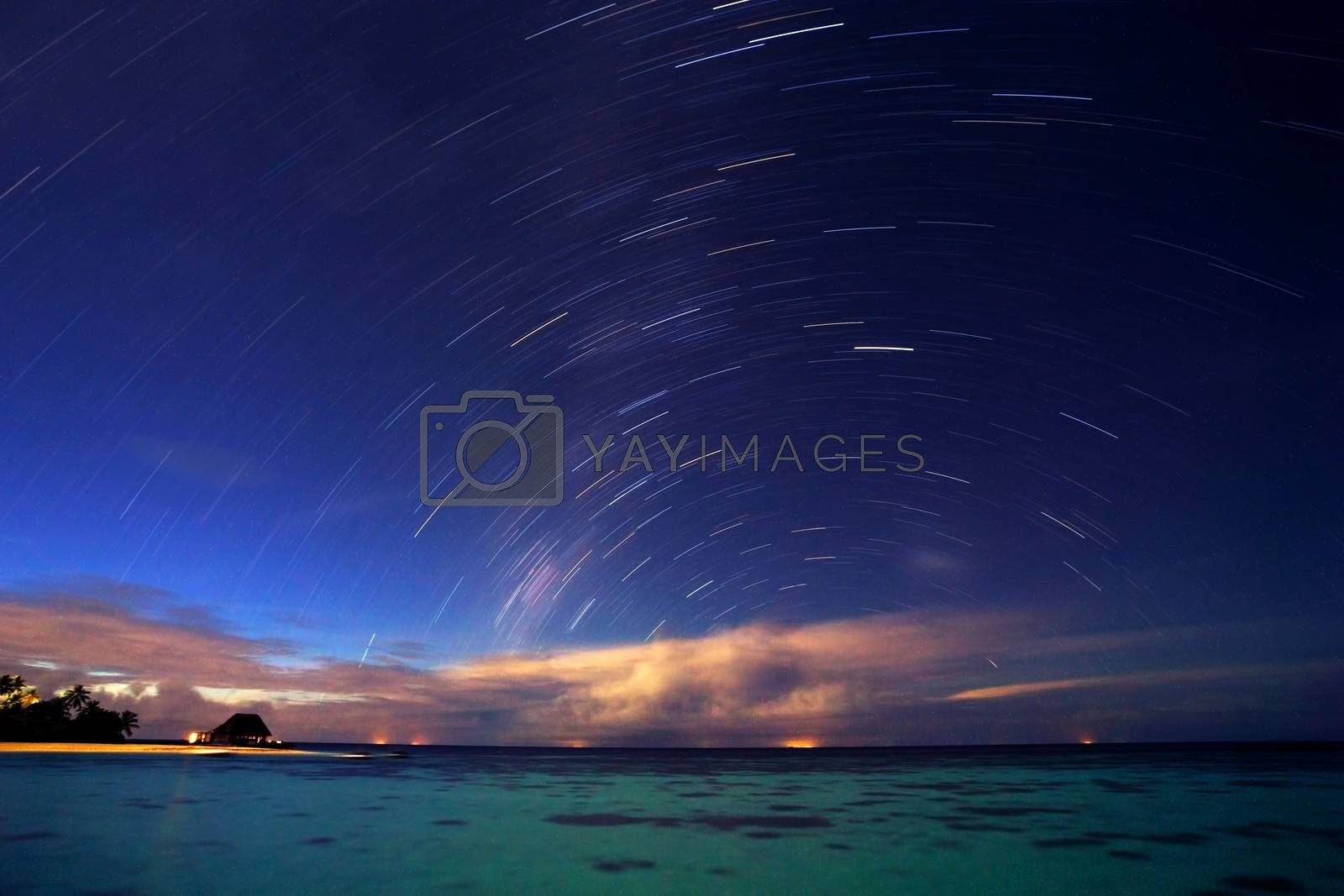 Royalty free image of Starry night on tropical resort by Anna_Omelchenko